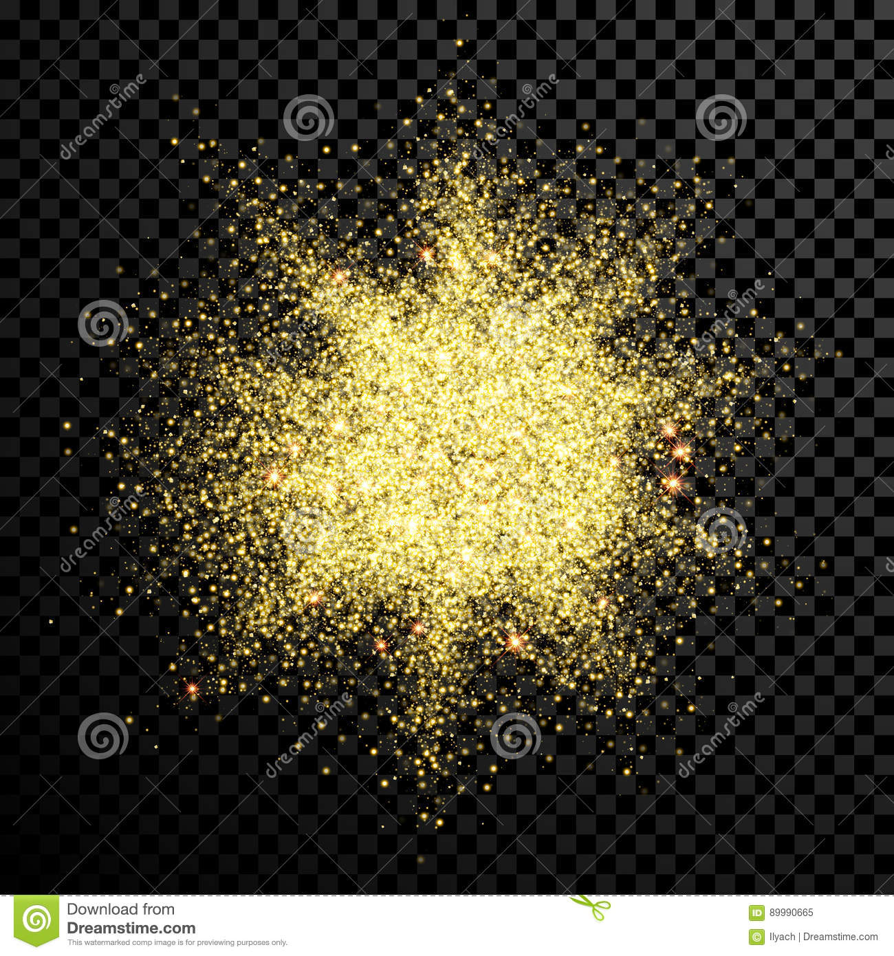 Gold glitter bright vector transparent background golden sparkles - Gold Glitter Powder Shining Sparkles On Vector Transparent Background Royalty Free Stock Photo
