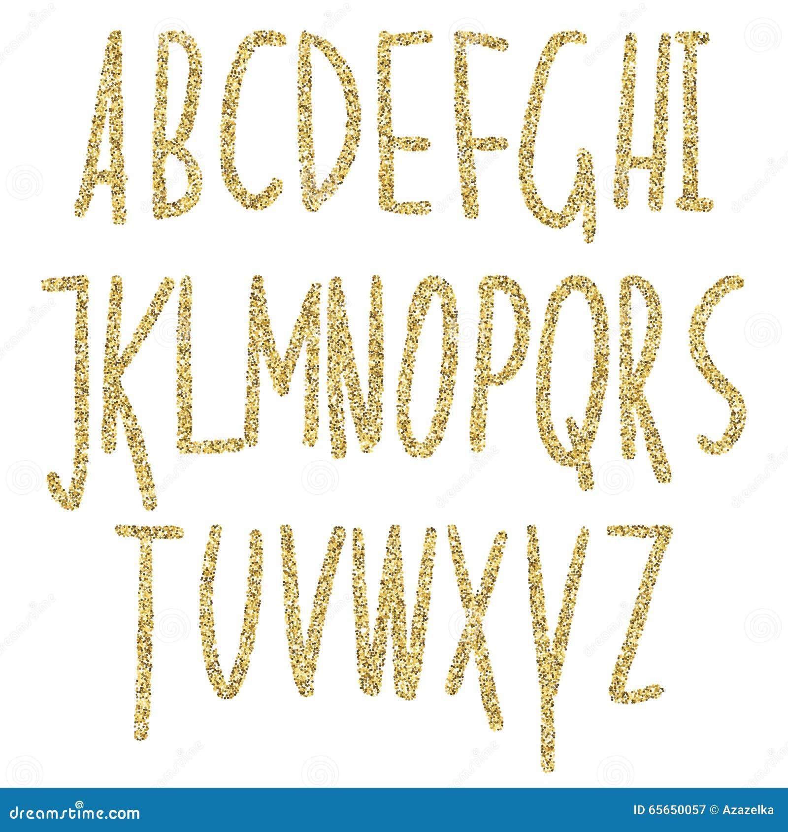 Gold Glitter Sparkling Alphabet  Decorative Golden Luxury Letters