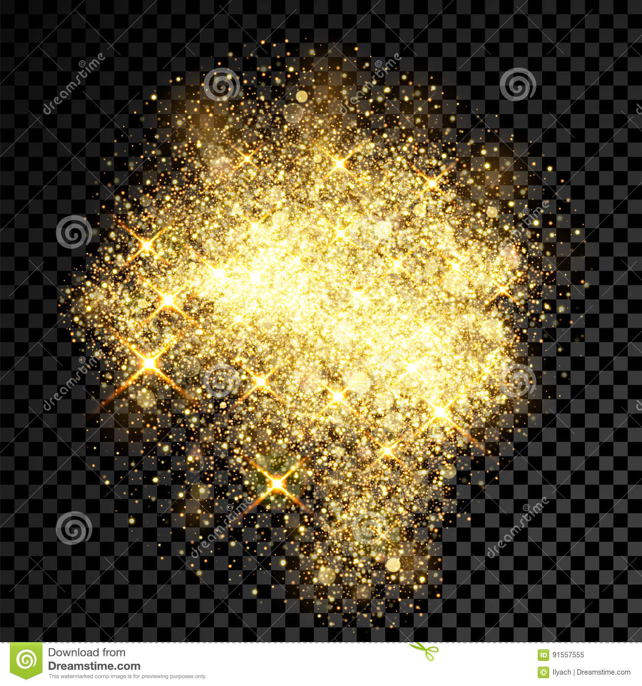 Gold glitter bright vector transparent background golden sparkles - Gold Glitter Spray Effect Of Sparkling Particles On Vector Transparent Background Royalty Free Stock Photo