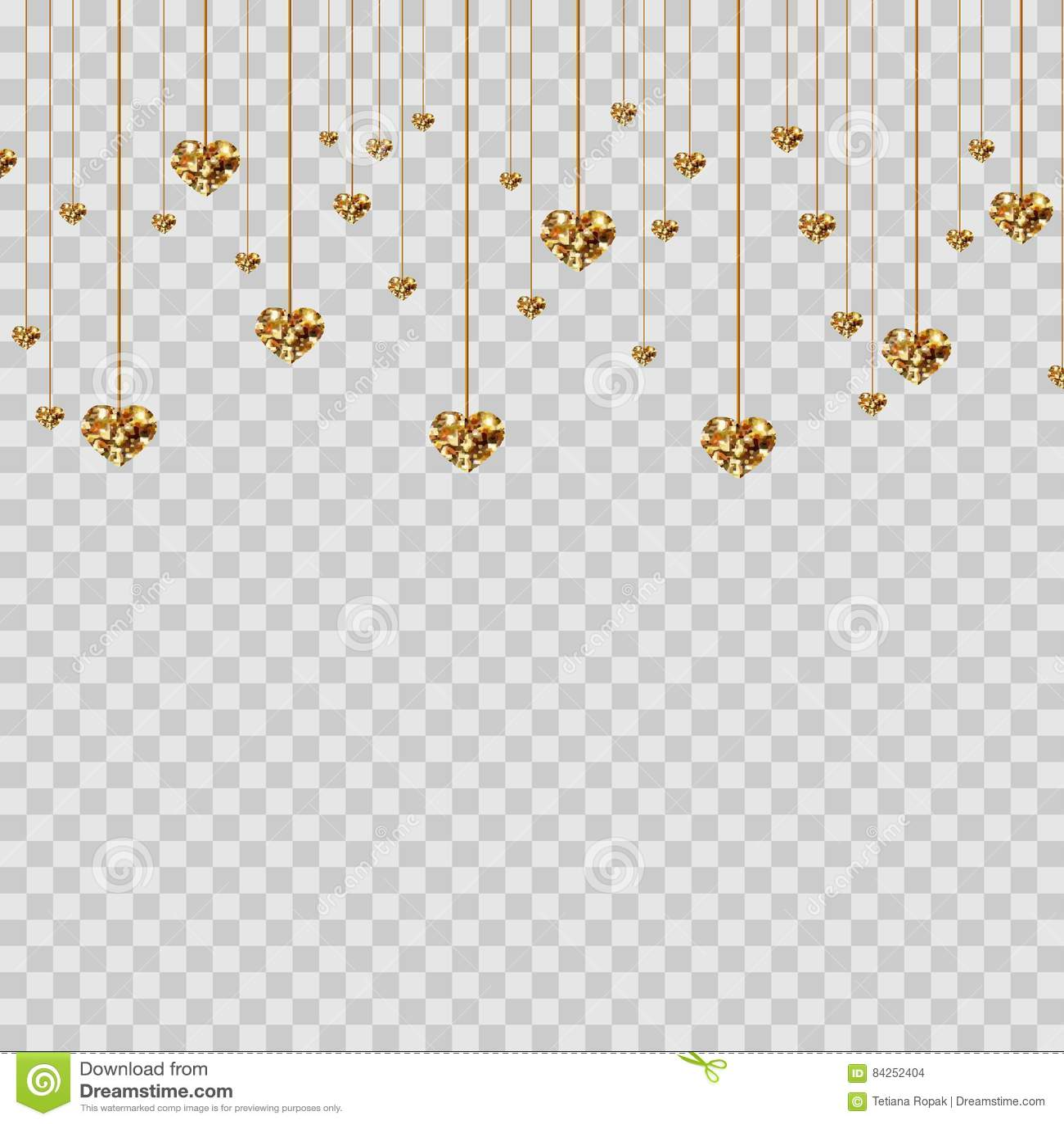 gold glitter valentine hearts on transparent background luxury