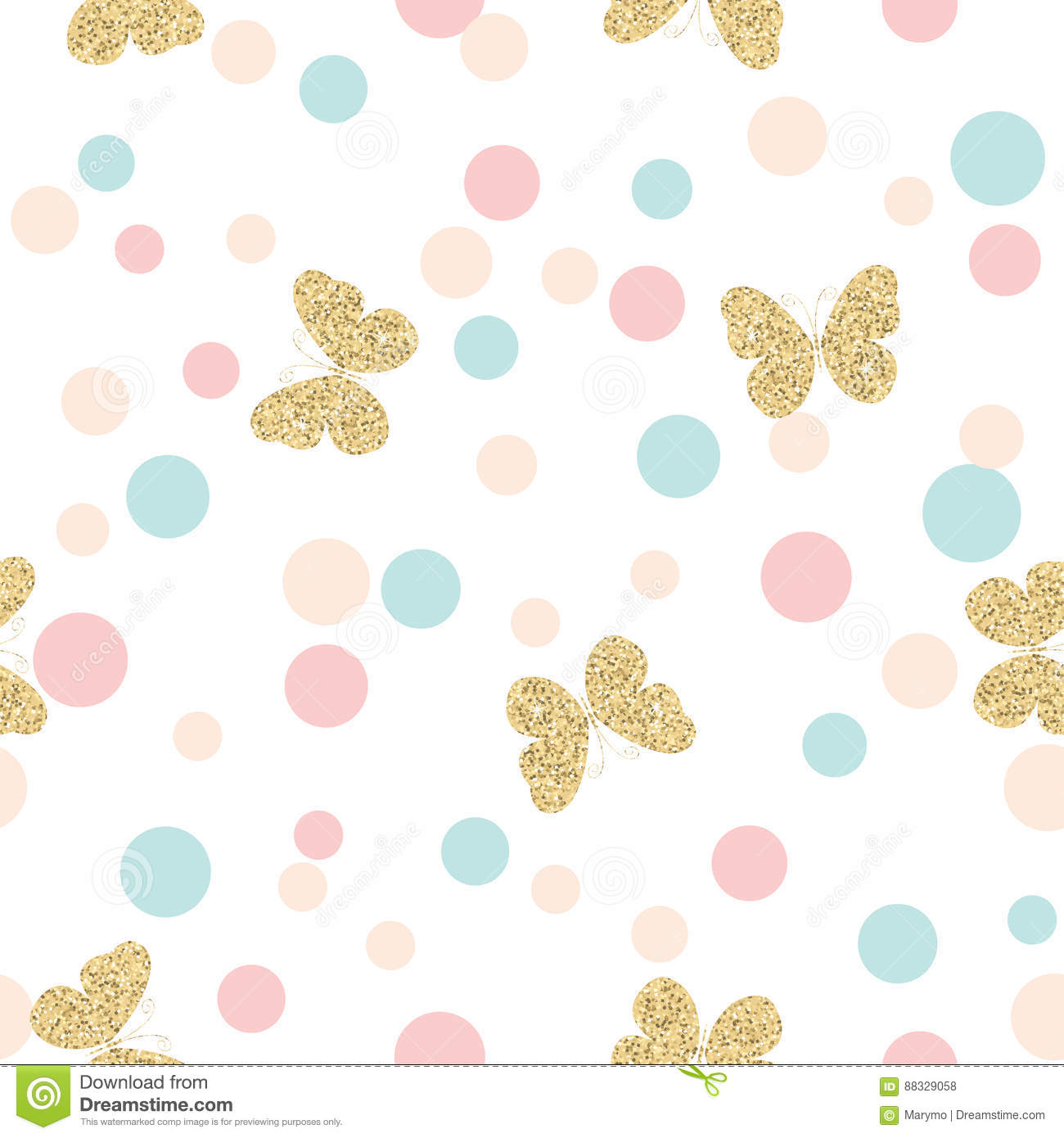 Royalty Free Vector Download Gold Glittering Butterflies Seamless Pattern On Pastel Colors Confetti Round Dots Background Stock Comp