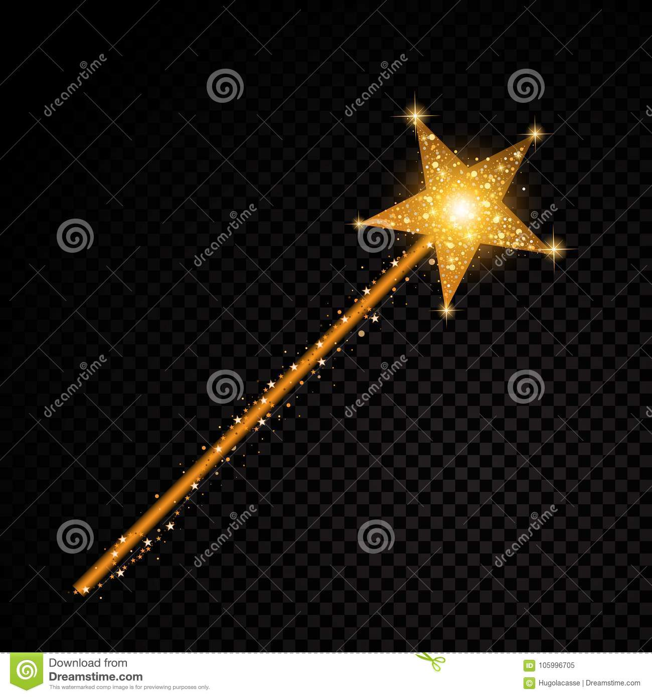 Gold glittering magic stick star dust trail sparkling particles on transparent background. Vector glamour fashion