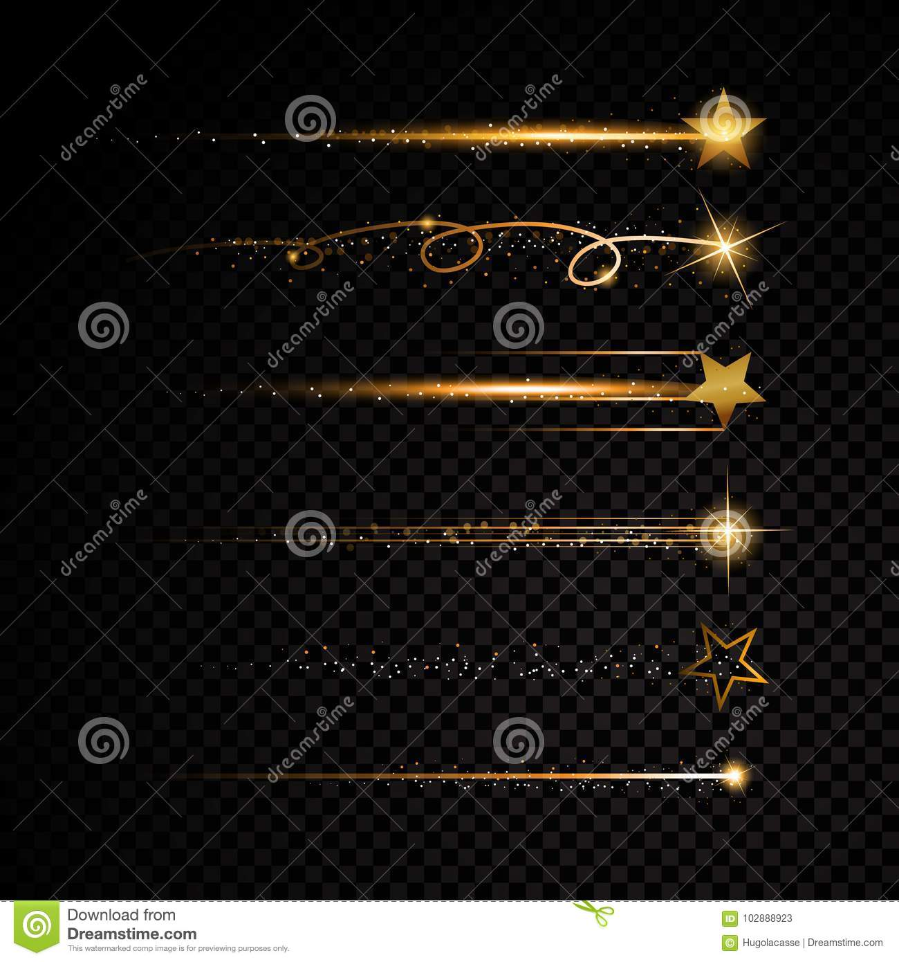 Gold glittering spiral star dust trail sparkling particles on transparent background.