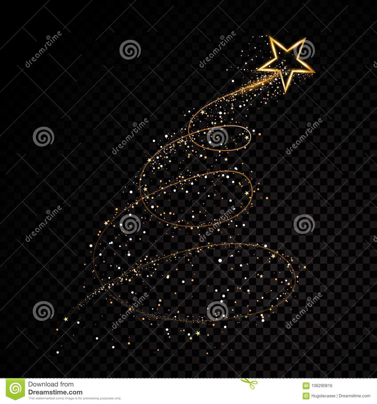 Gold glittering star dust trail sparkling particles on transparent background. Space comet tail. Vector glamour fashion