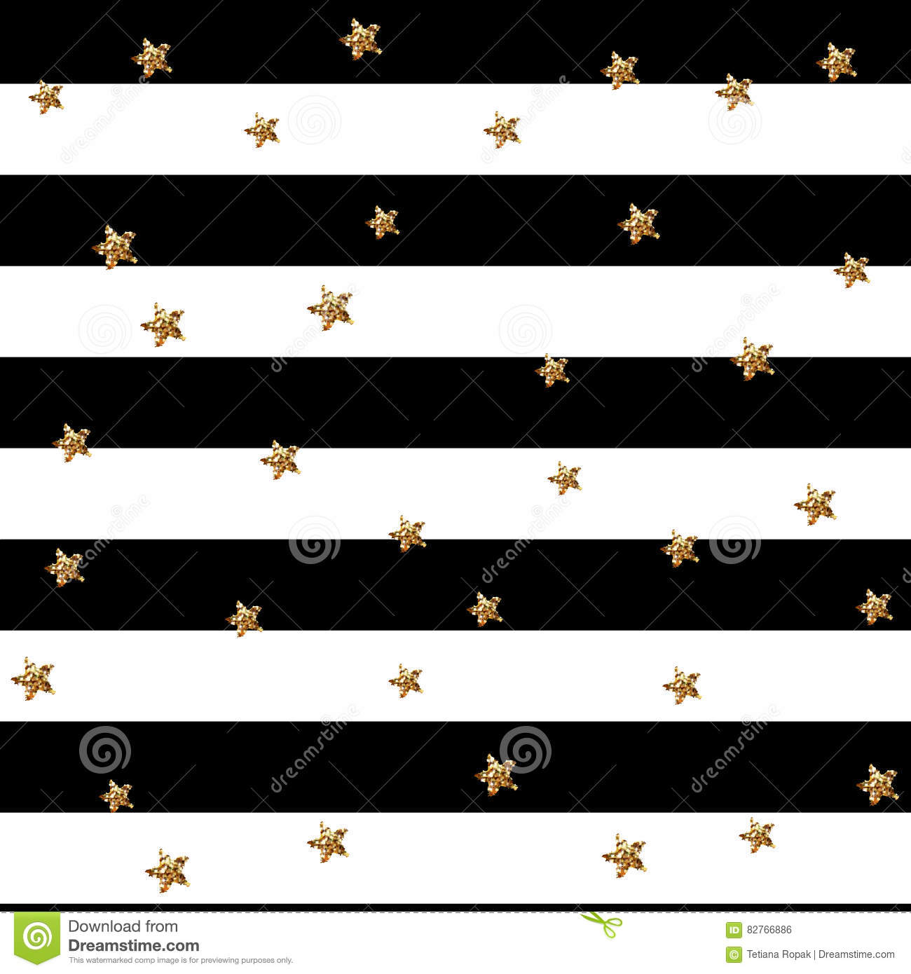 Gold glittering stars confetti seamless pattern on stripe background. Vector illustration. Glitter stars and lights, sparkles. End