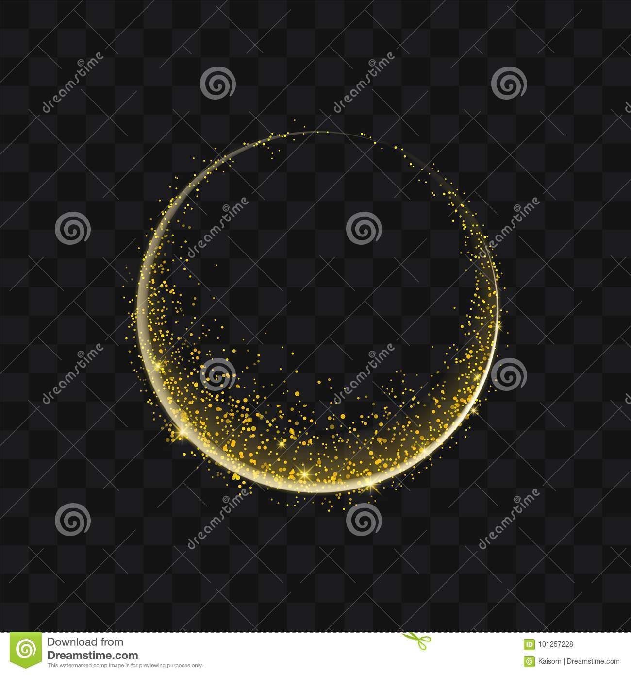 Gold glittering trail sparkling stardust abstract particles on b