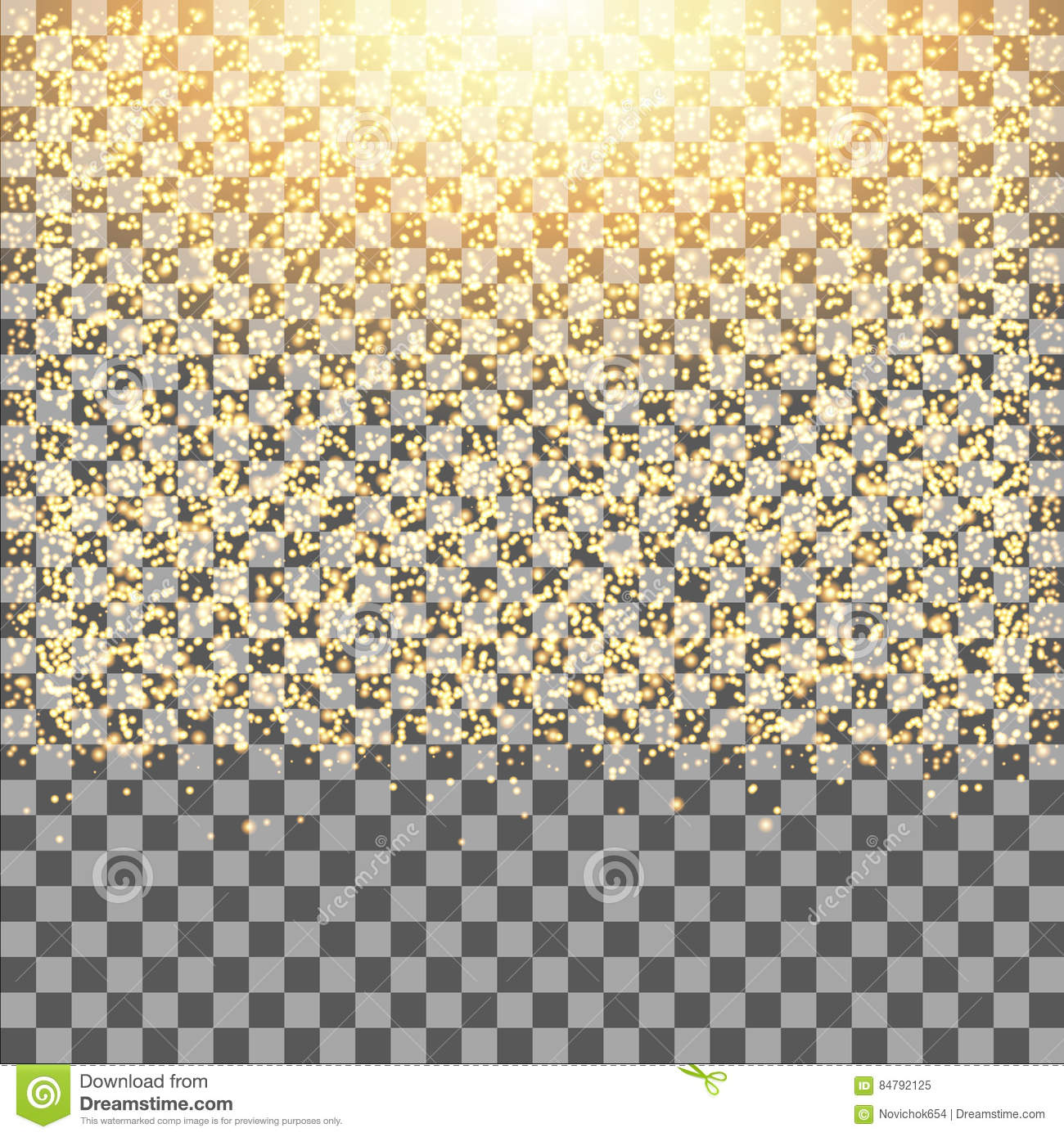 gold glow glitter sparkles on transparent background falling dust