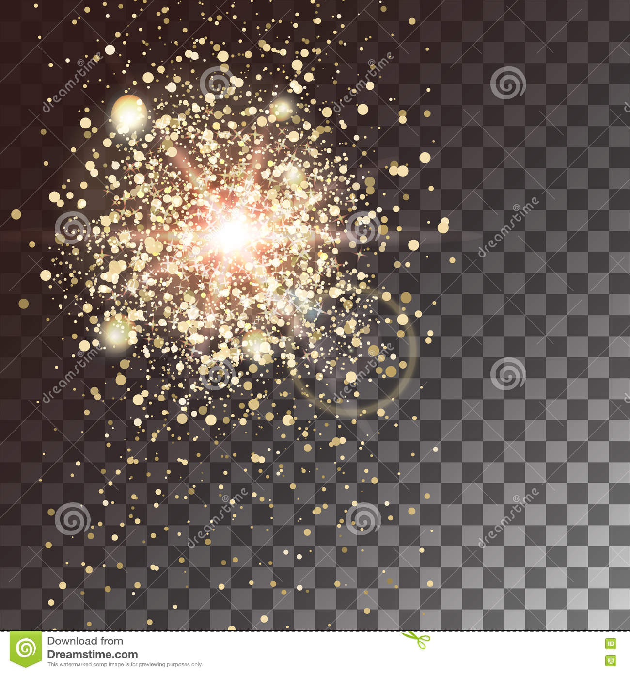 Gold glitter bright vector transparent background golden sparkles - Gold Glow Light Effect On A Transparent Background Star Burst With Sparkles Vector Illustration