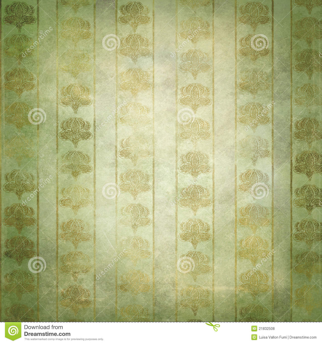 gold and green grunge victorian wallpaper stock photo
