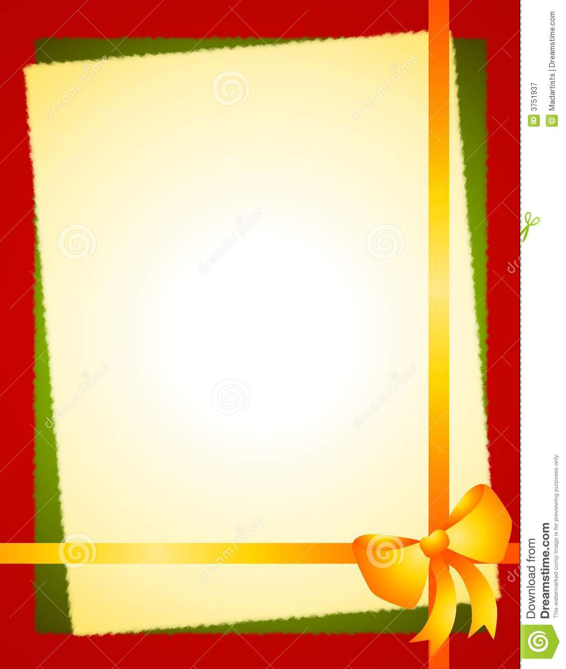 Gold Green Red Christmas Bow Border Stock Illustration