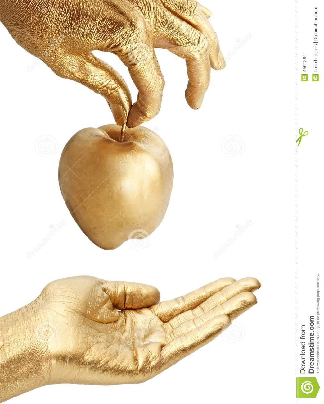 Gold Hand Giving Apple Stock Images Image 4591294
