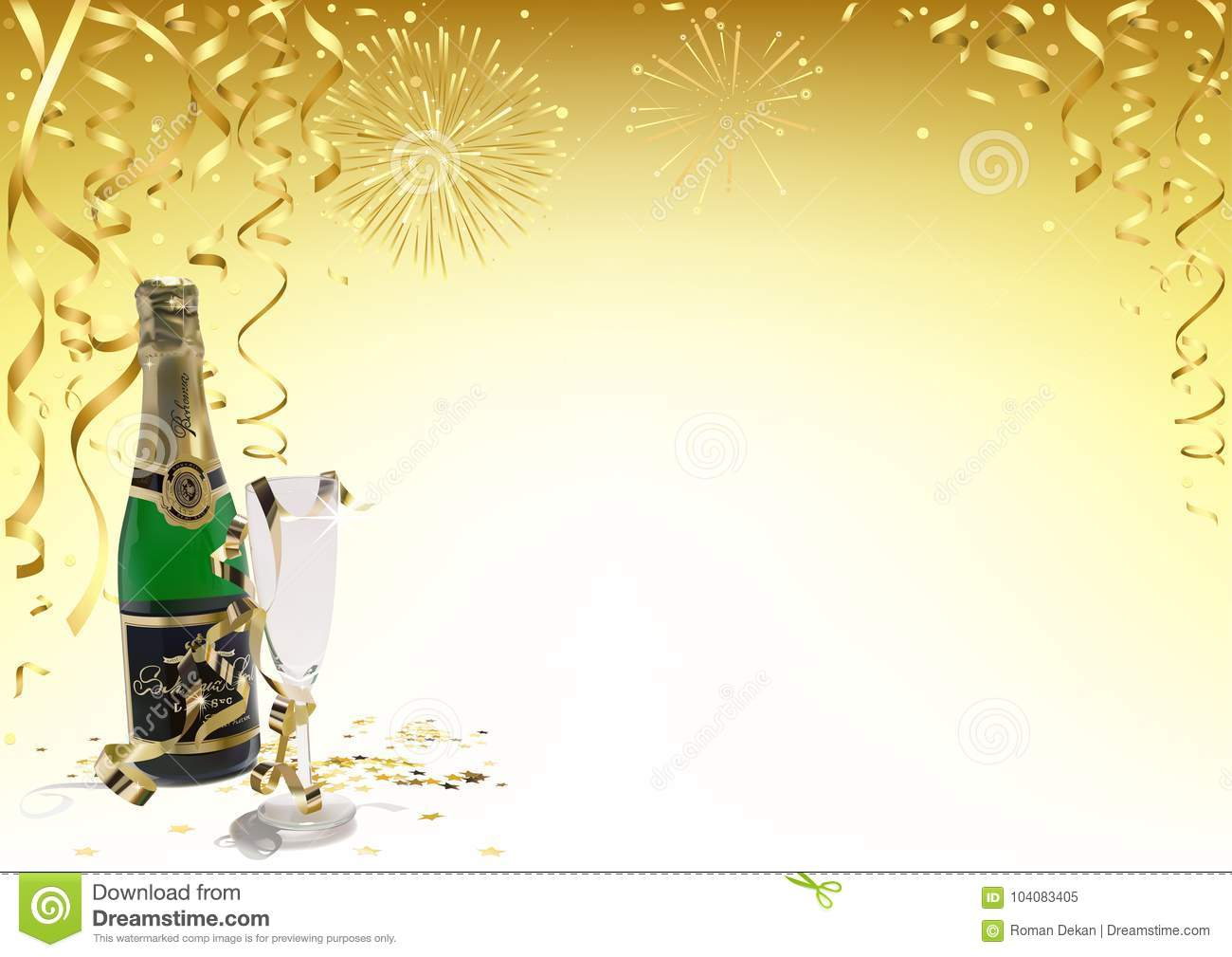 gold happy new year background with champagne