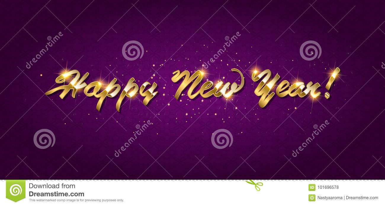 Gold Happy New Year Greeting Text Stock Vector Illustration Of