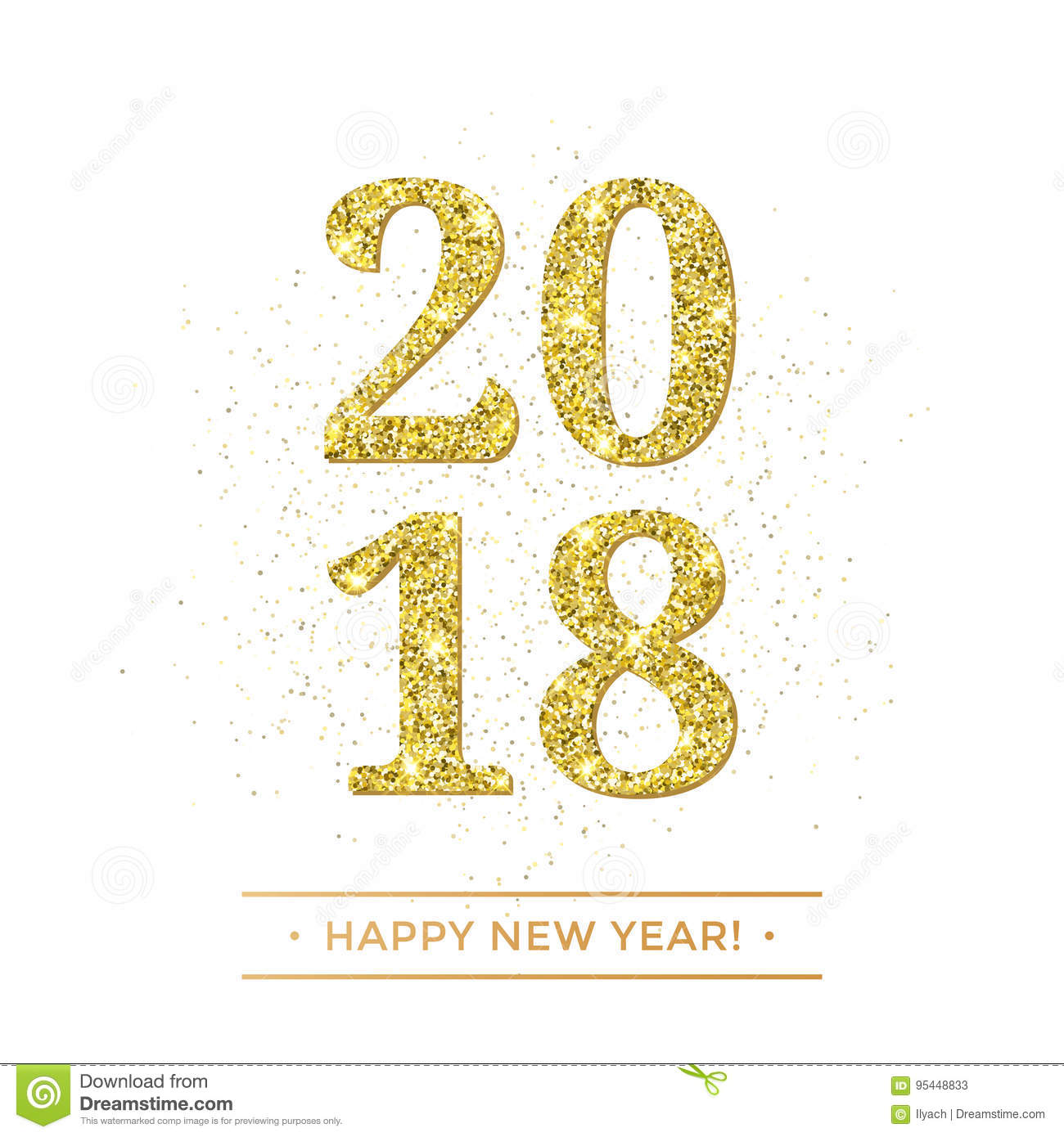 gold 2018 happy new year vector on white background banner with golden glittering texture effect