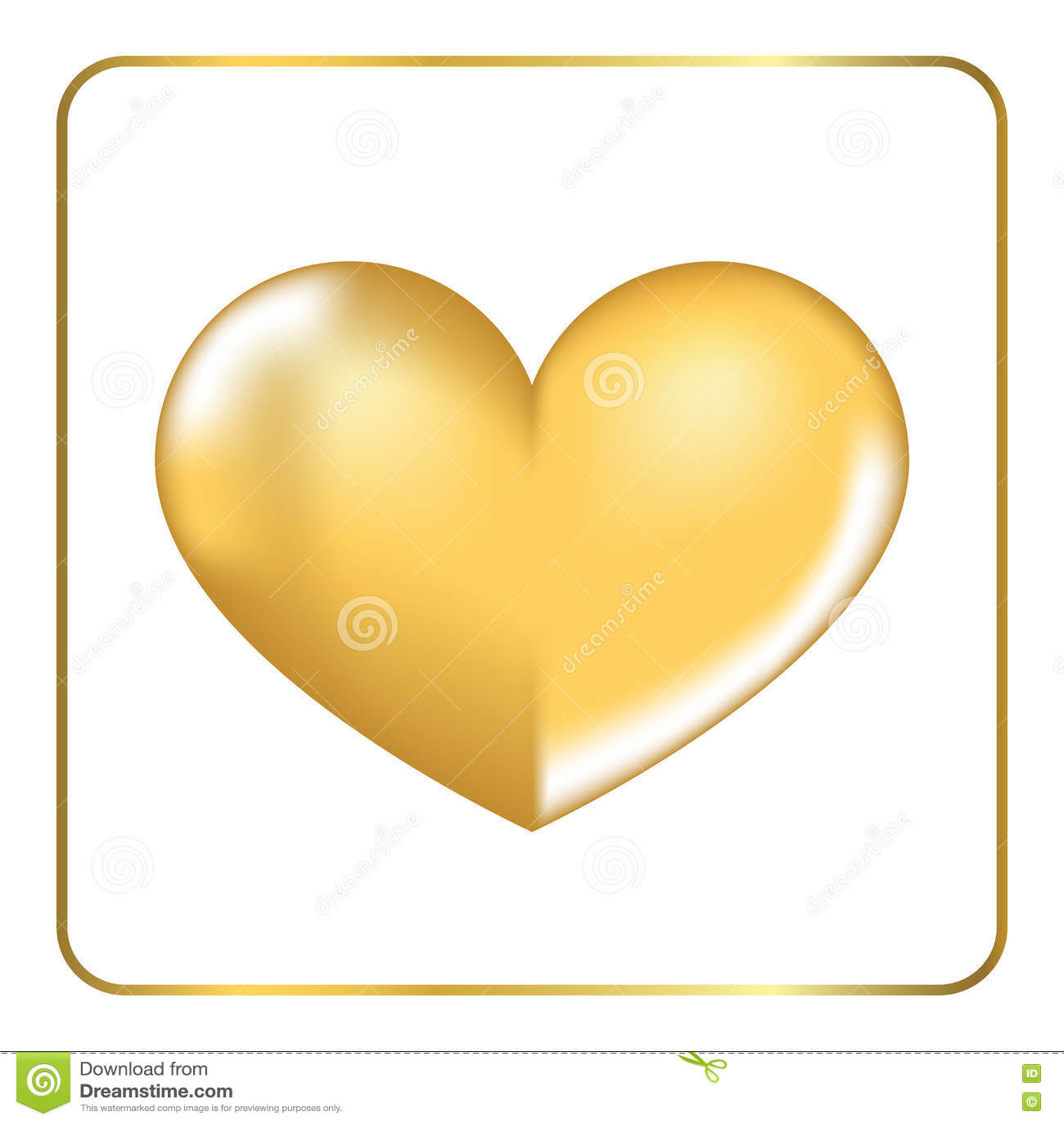 Gold Heart 3d 3 Stock Vector Illustration Of Light February 72107988