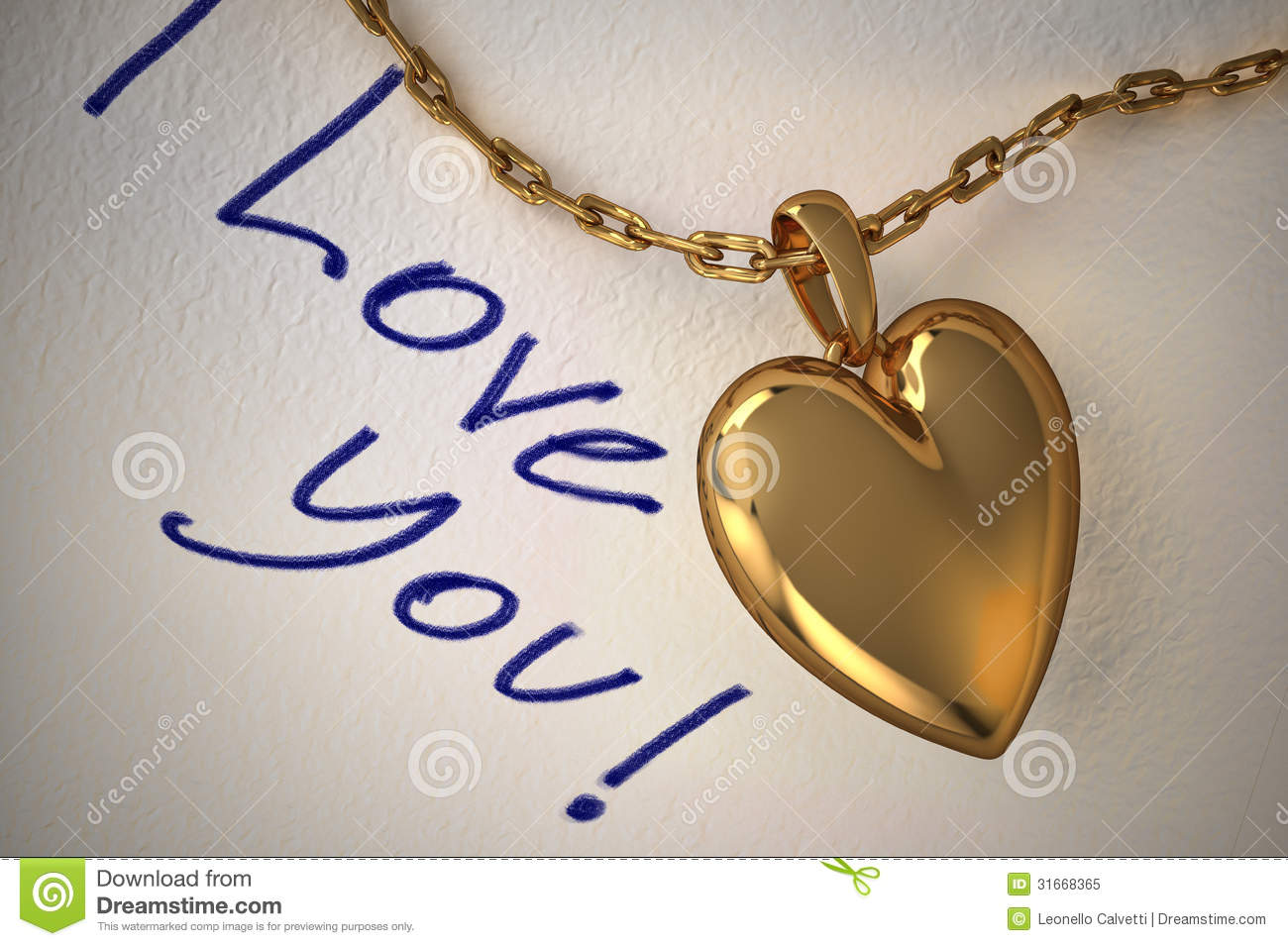 Gold heart pendant on white paper with the inscription i love you gold heart pendant on white paper with the inscription i love you handwritten on it mozeypictures Images