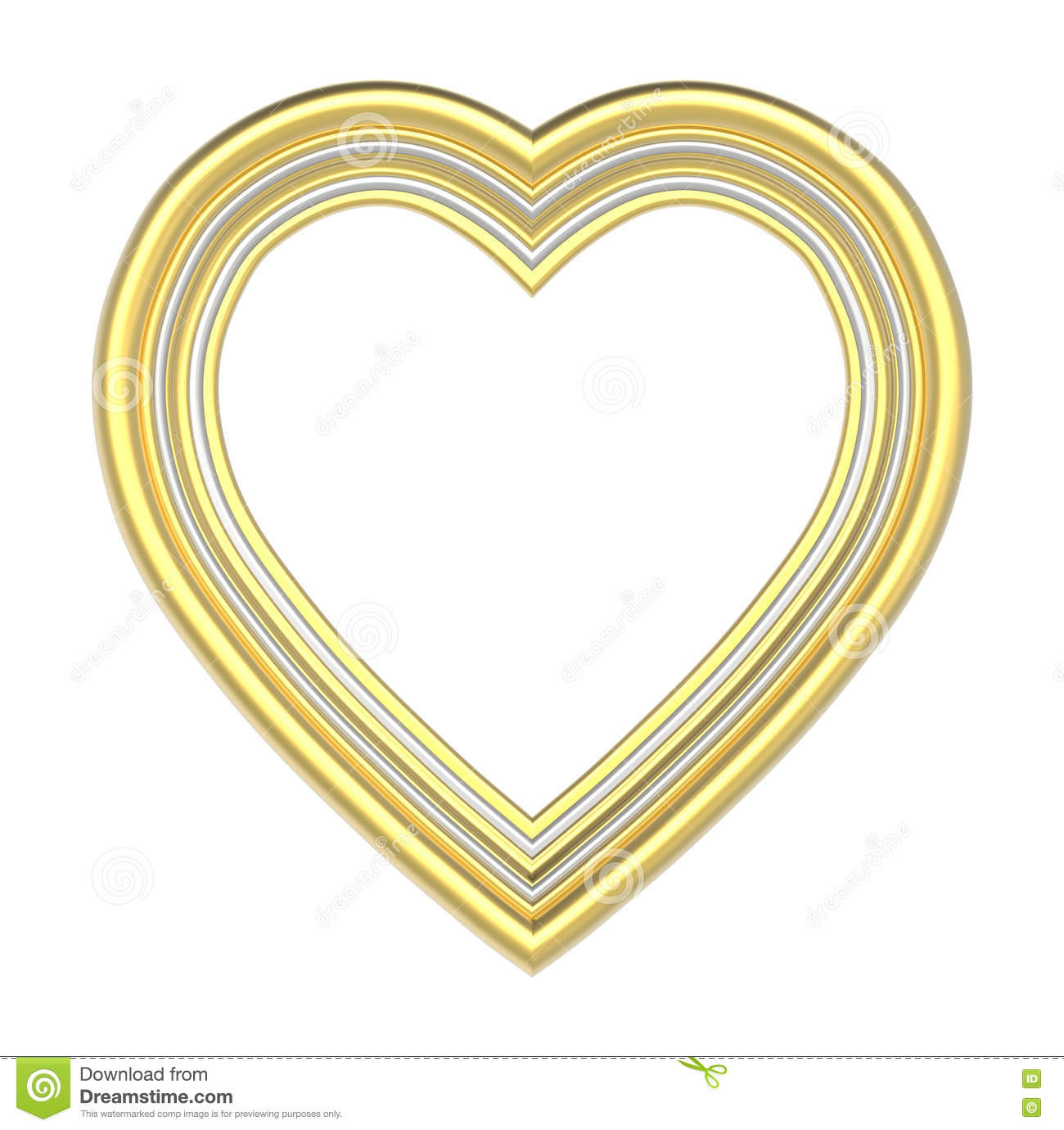 Gold heart picture frame isolated on white.