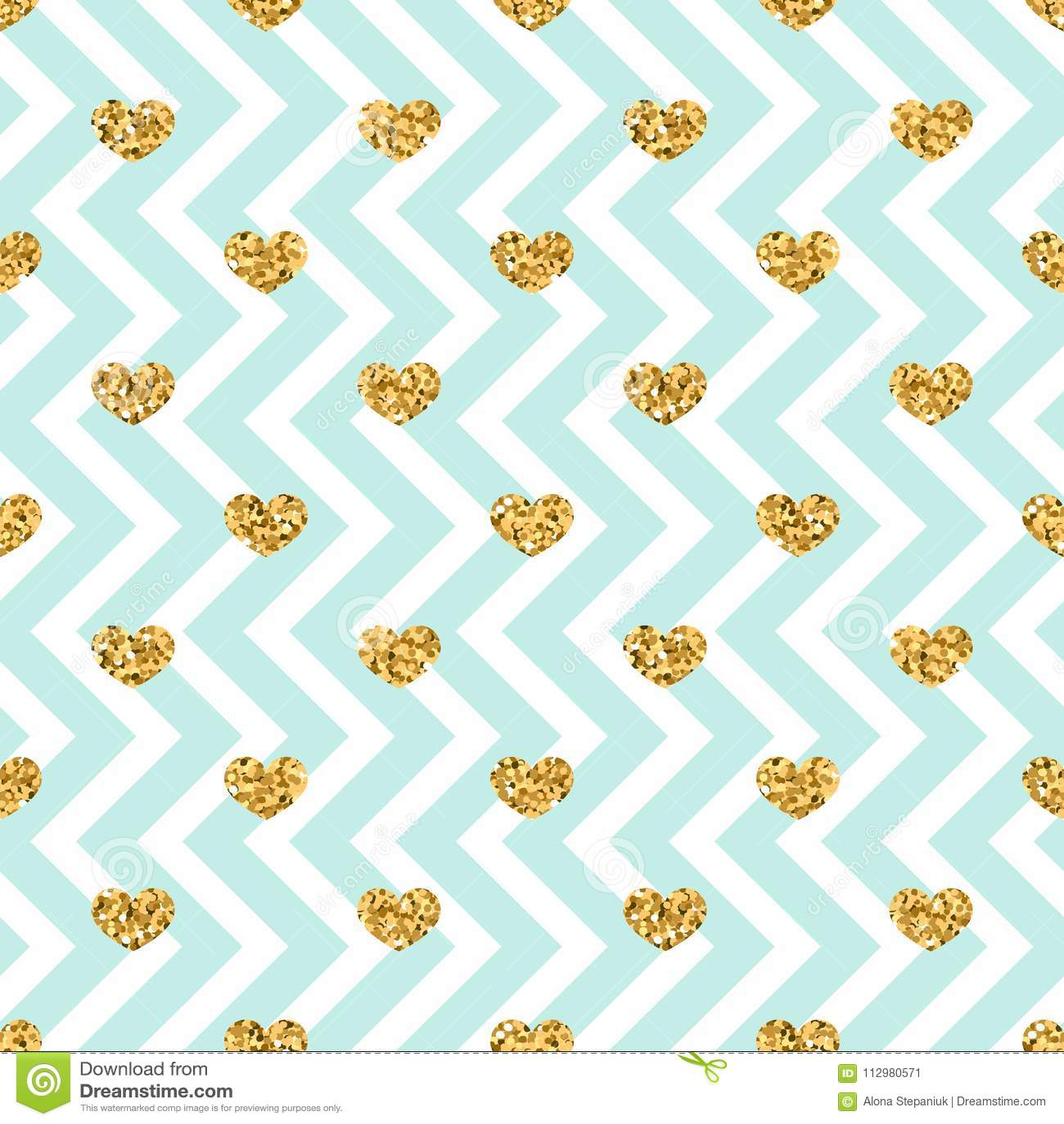 Gold heart seamless pattern. Blue-white geometric zig zag, golden confetti-hearts. Symbol of love, Valentine day holiday
