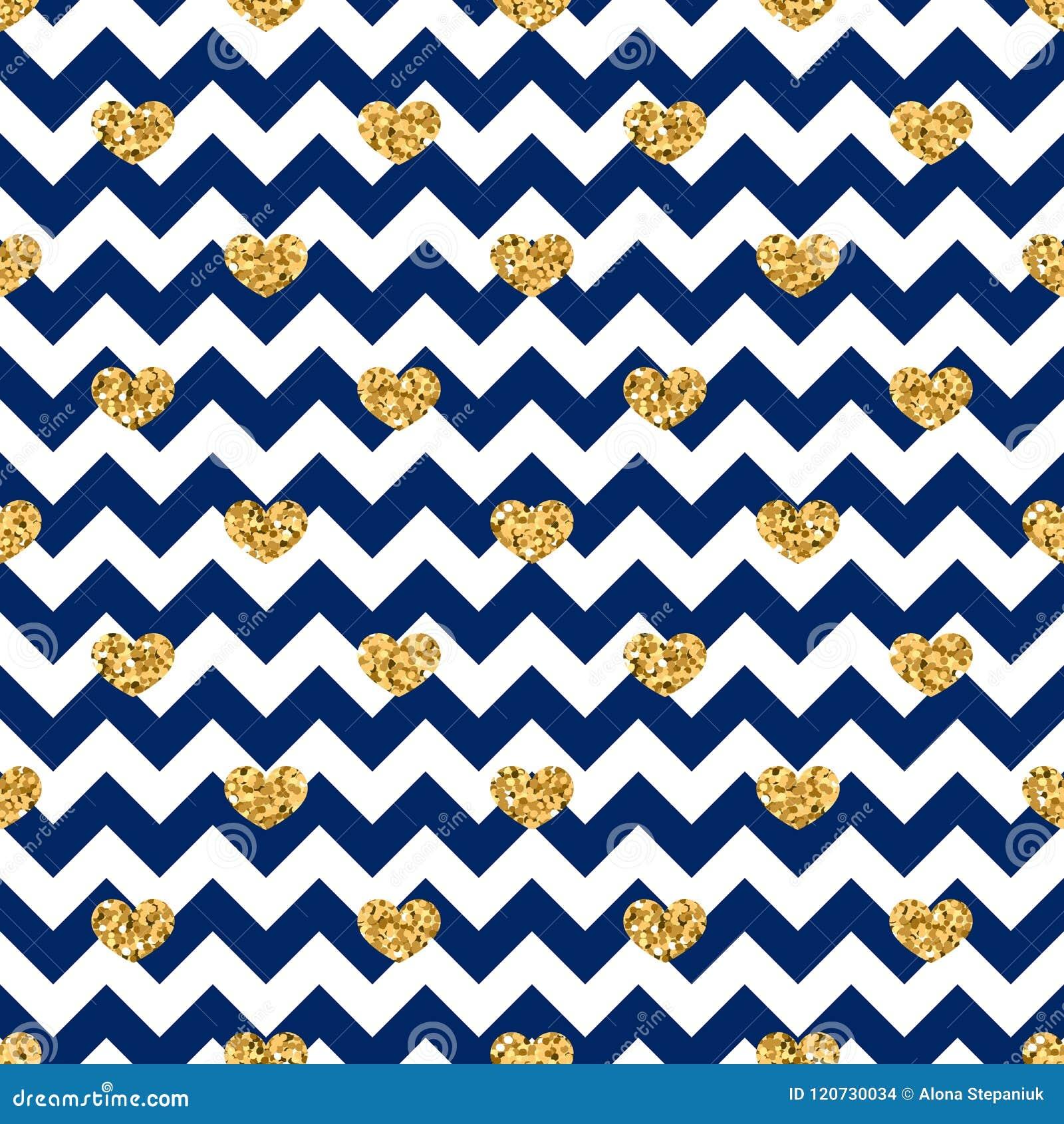 Gold Heart Seamless Pattern Blue White Geometric Zig Zag Golden