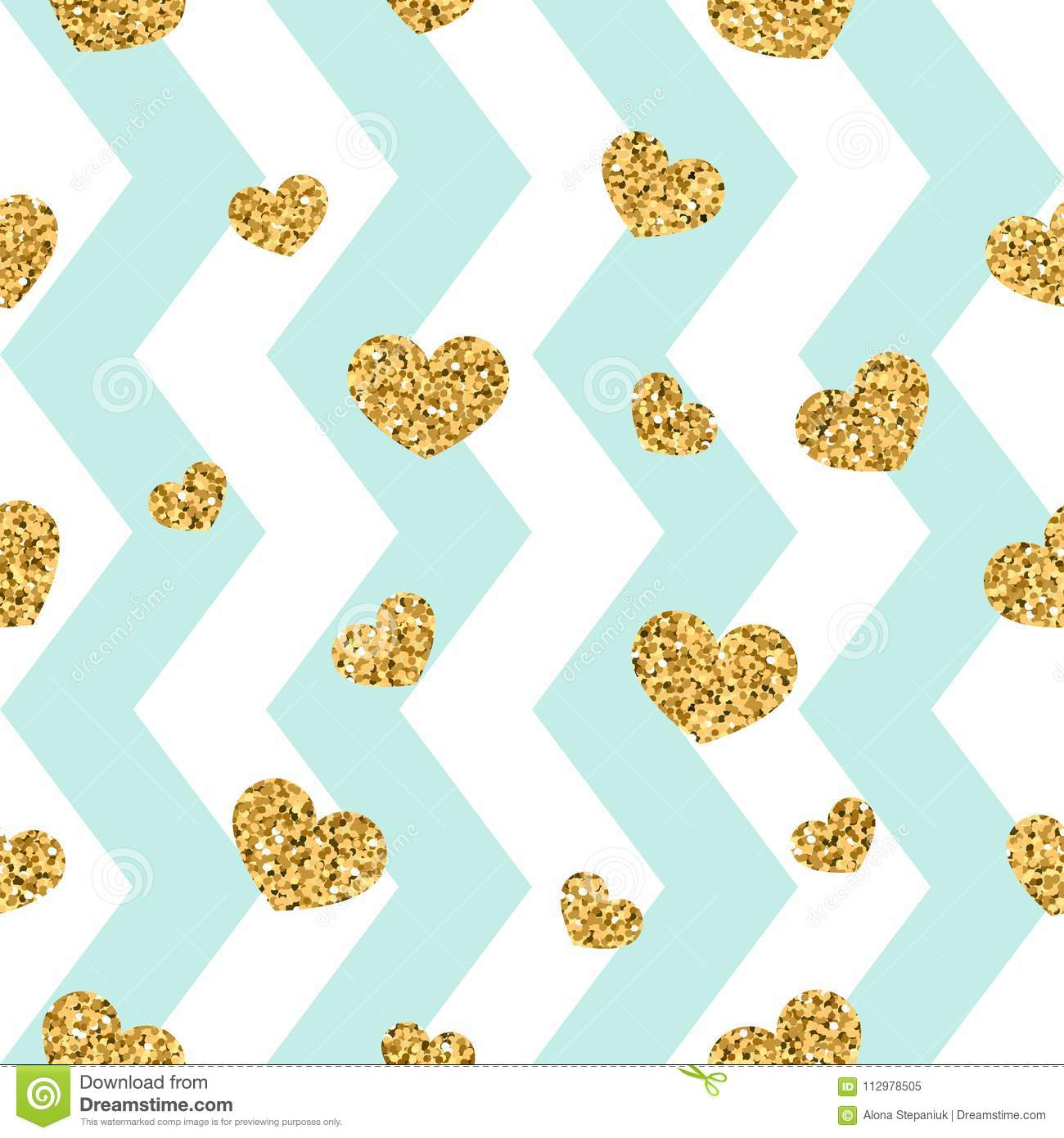 Gold heart seamless pattern. Blue-white geometric zig zag, golden confetti-hearts. Symbol of love, Valentine day holiday