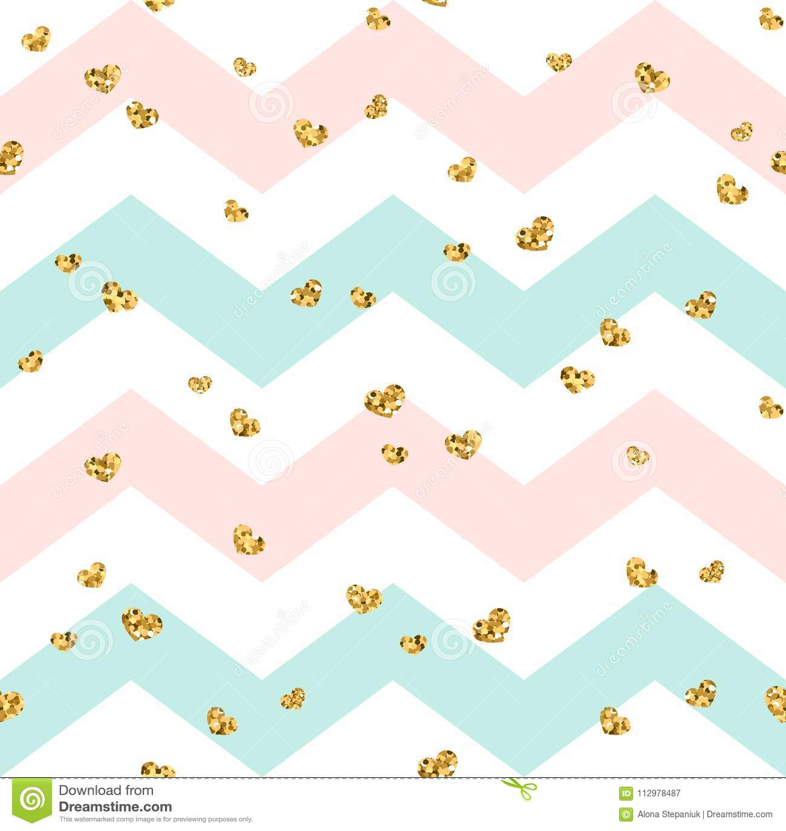 Gold heart seamless pattern. Pink-blue-white geometric zig zag, golden confetti-hearts. Symbol of love, Valentine day