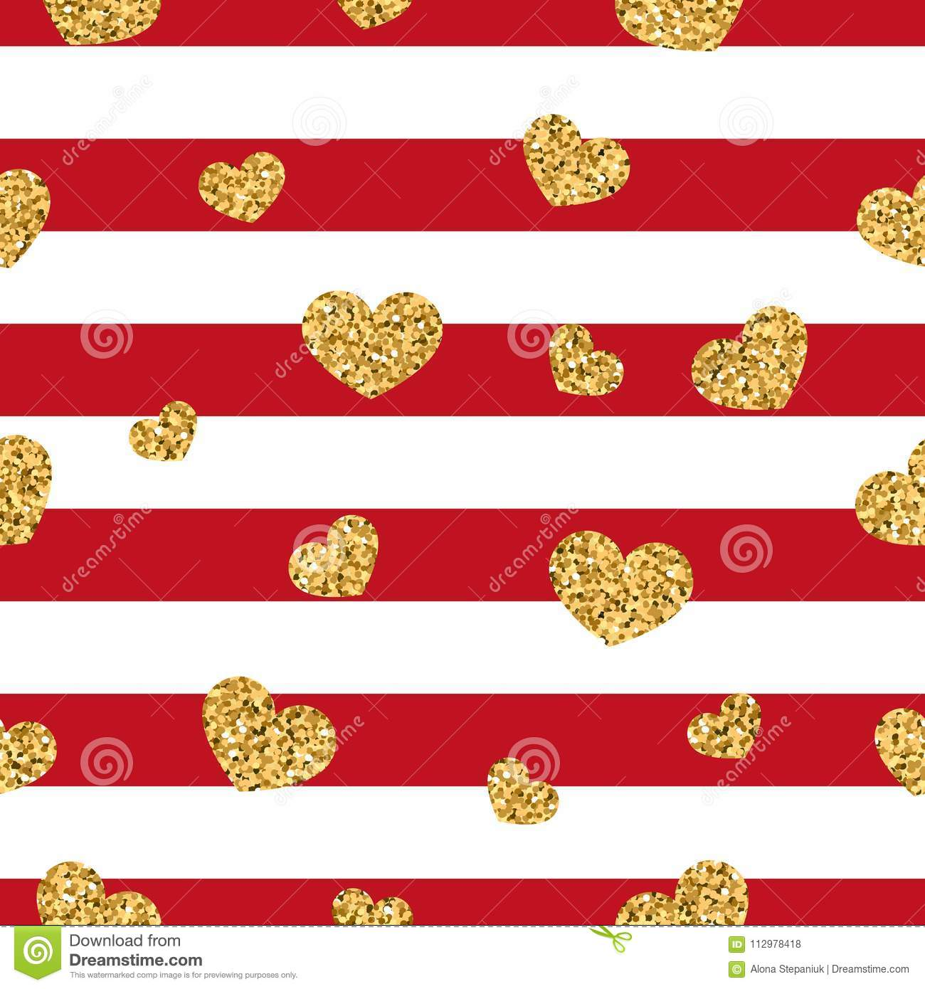 Gold heart seamless pattern. Red-white geometric stripes, golden confetti-hearts. Symbol of love, Valentine day holiday