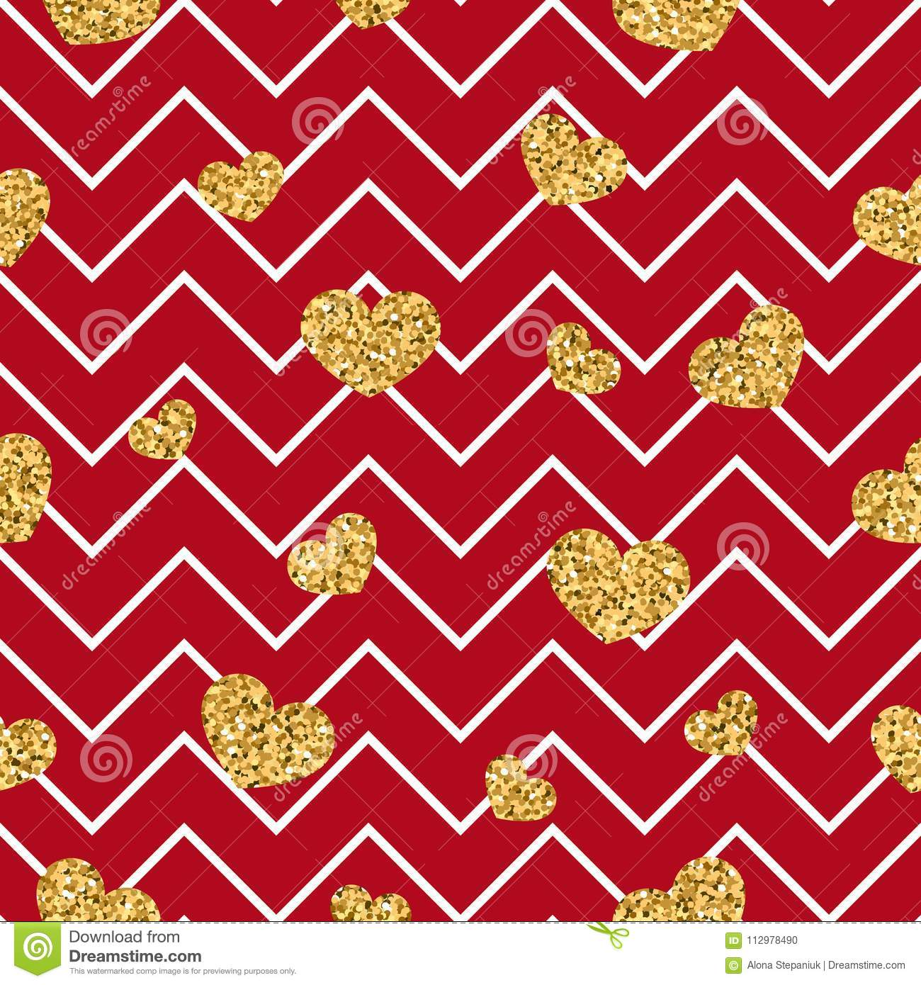 Gold heart seamless pattern. Red-white geometric zig zag, golden confetti-hearts. Symbol of love, Valentine day holiday
