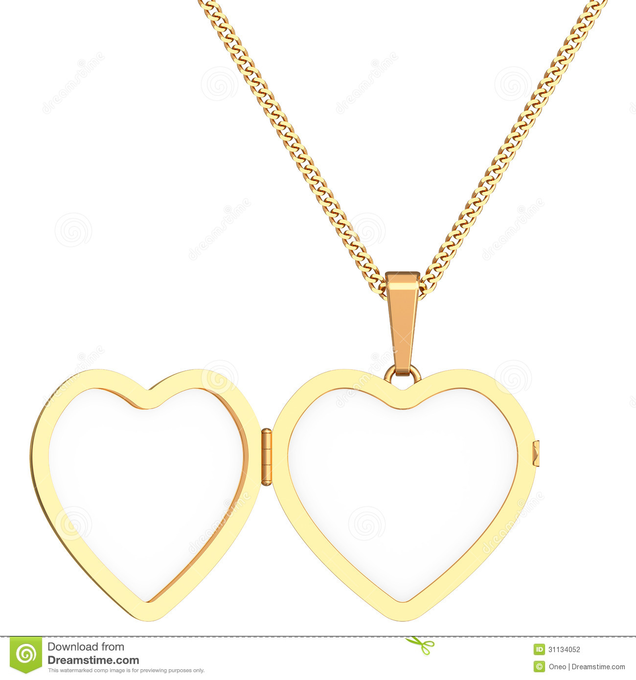 Gold Heart Shaped Locket On Chain Isolated On White Stock Photography Image 31134052