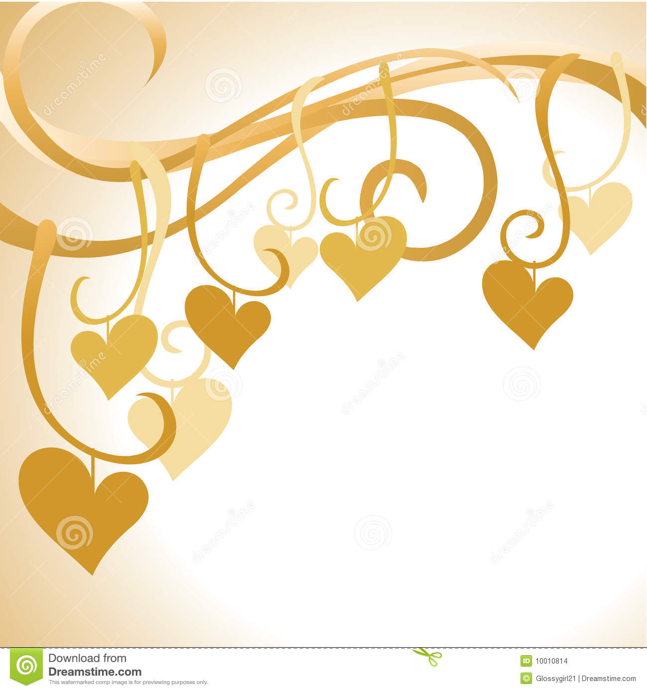 Intertwined Hearts Gold Hearts Background...