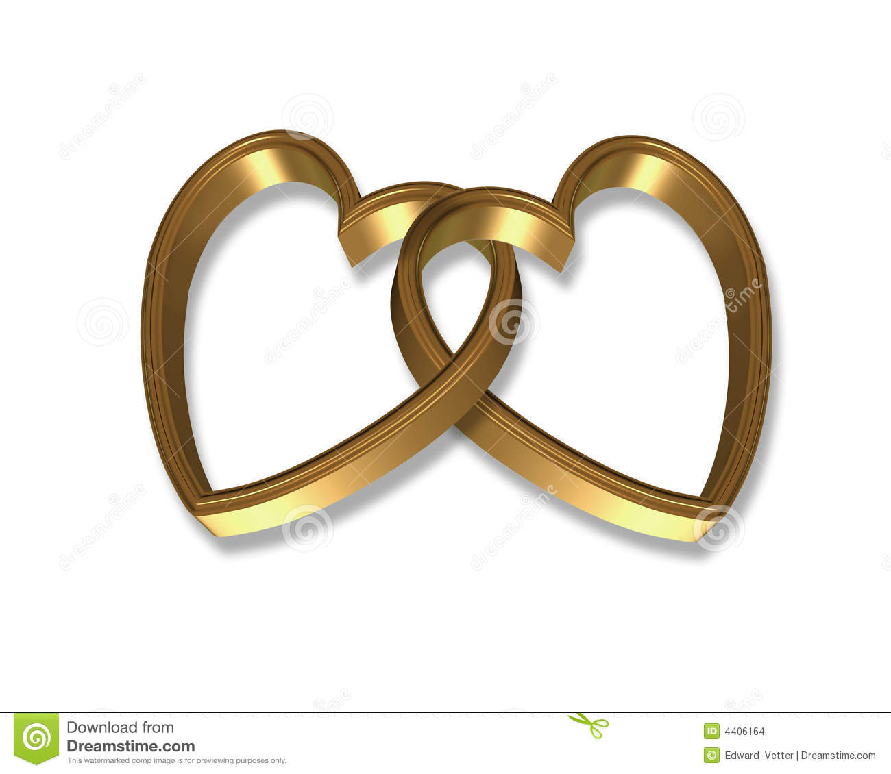 Gold Hearts Linked 3D Stock Images - Image: 4406164