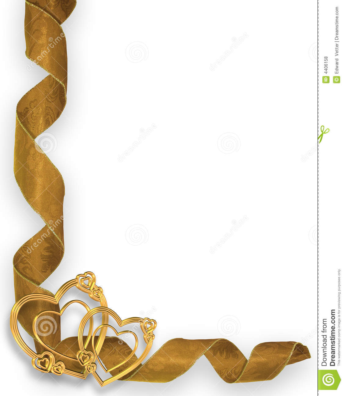 Gold Hearts And Ribbons Corner Stock Illustration