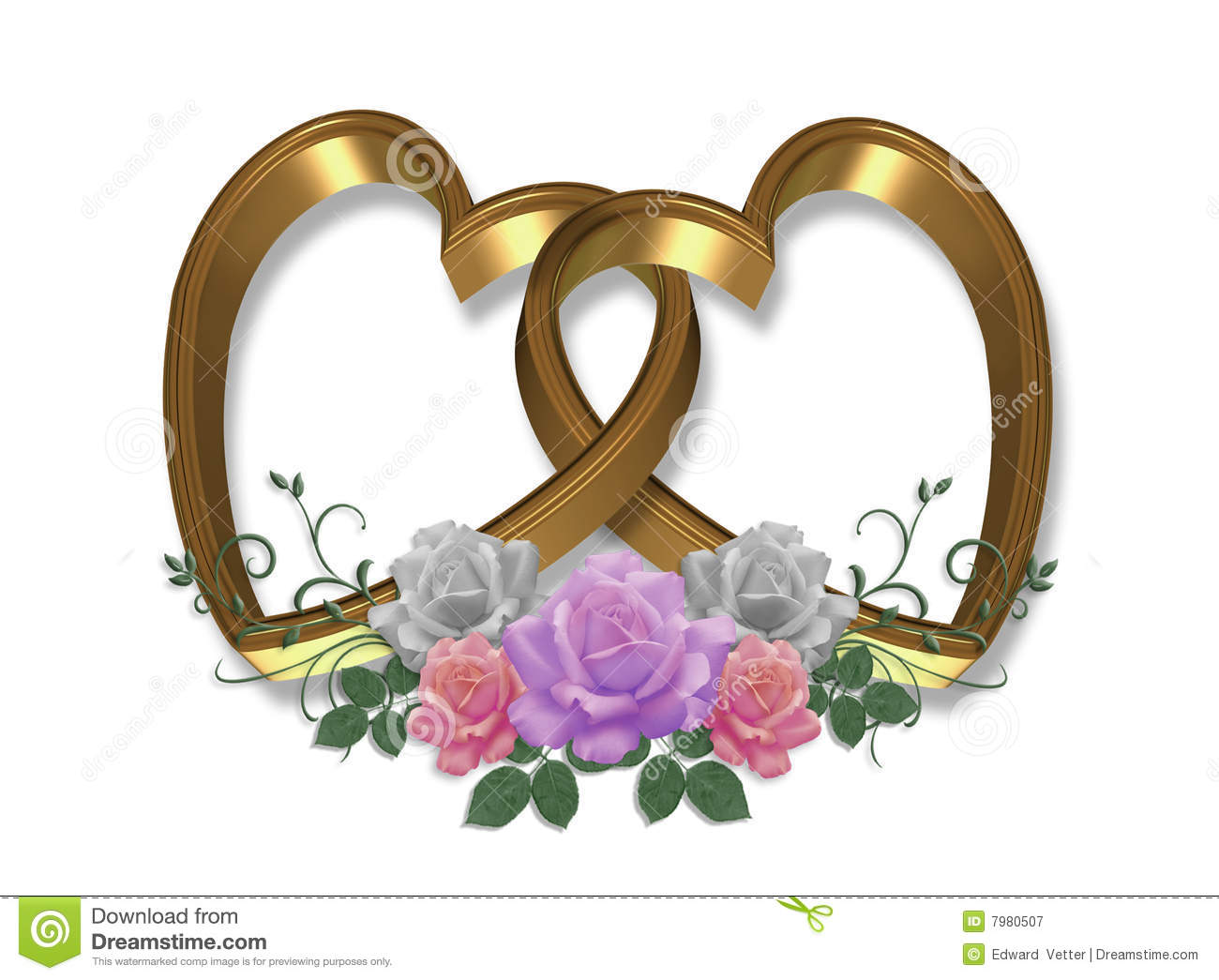 Gold Hearts and Roses 3D stock illustration. Illustration ...