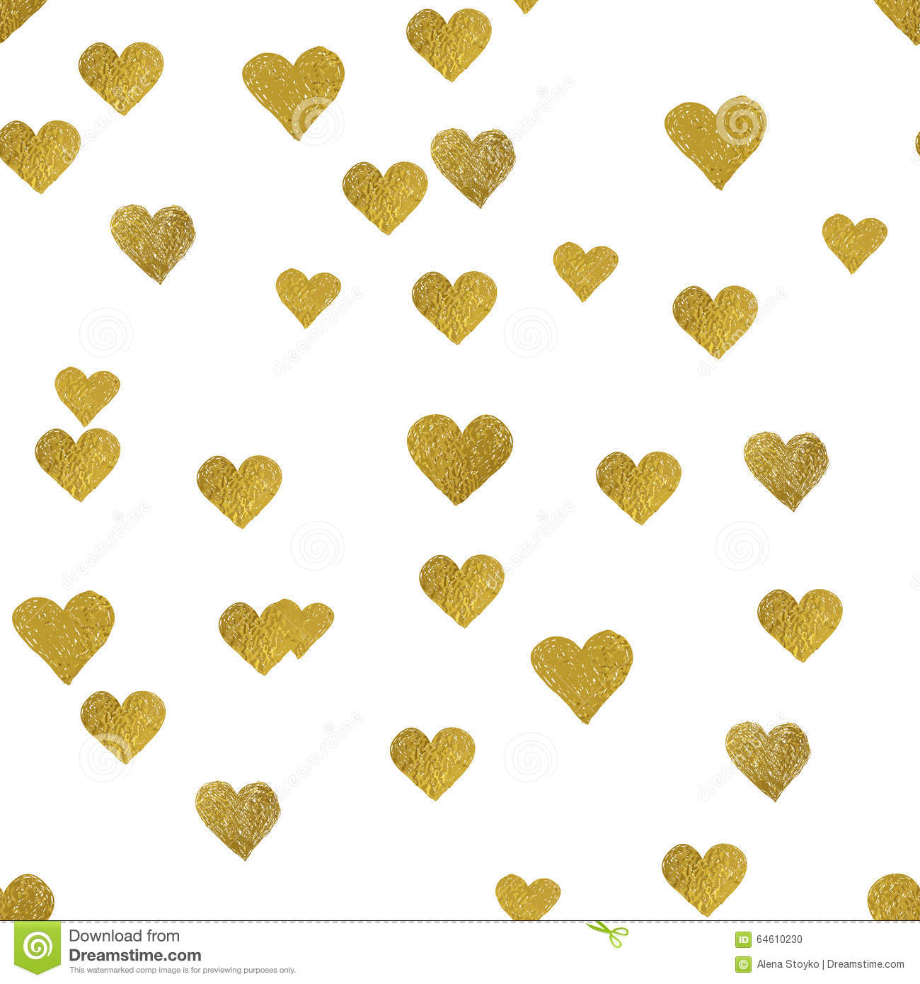 Gold Hearts On White Background Seamless Pattern Stock
