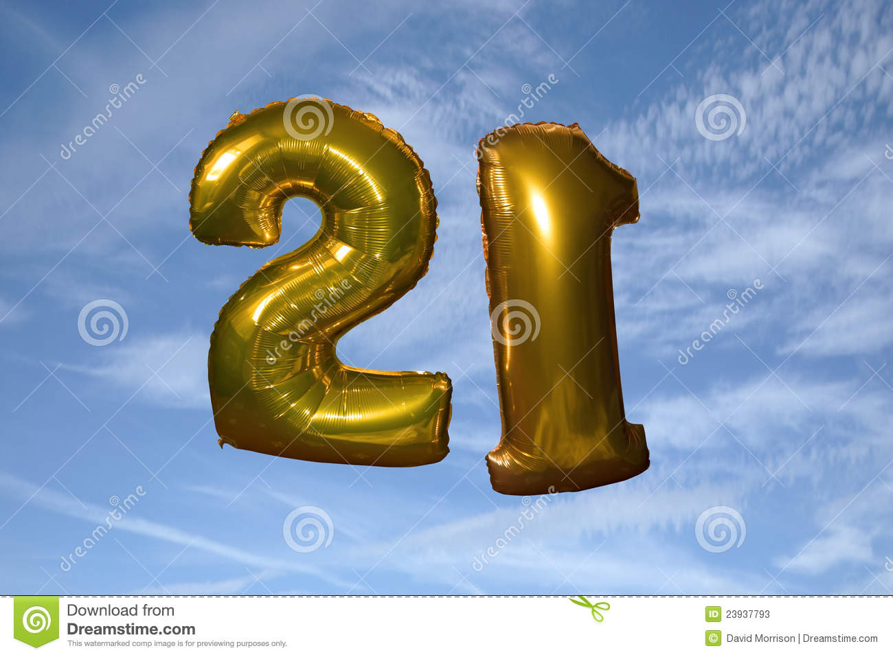 Gold Helium Filled 21st Birthday Balloons Stock Photos - Image