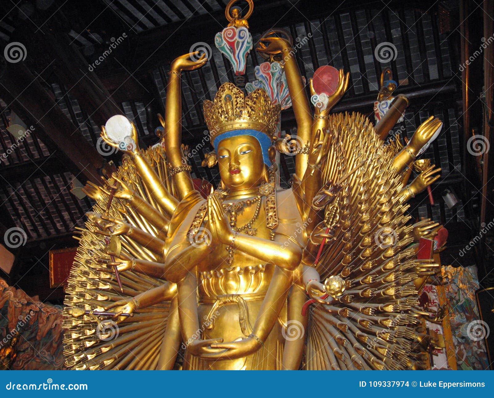 Gold Hindu goddess statue