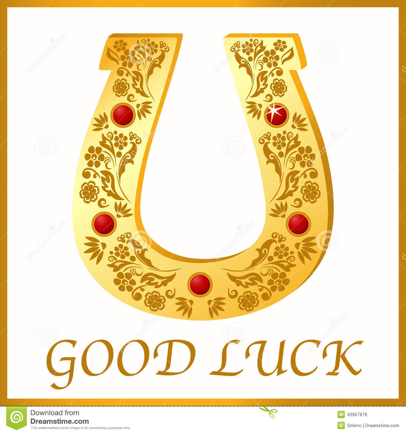 Gold Horseshoe For Good Luck Stock Vector Image 43957876