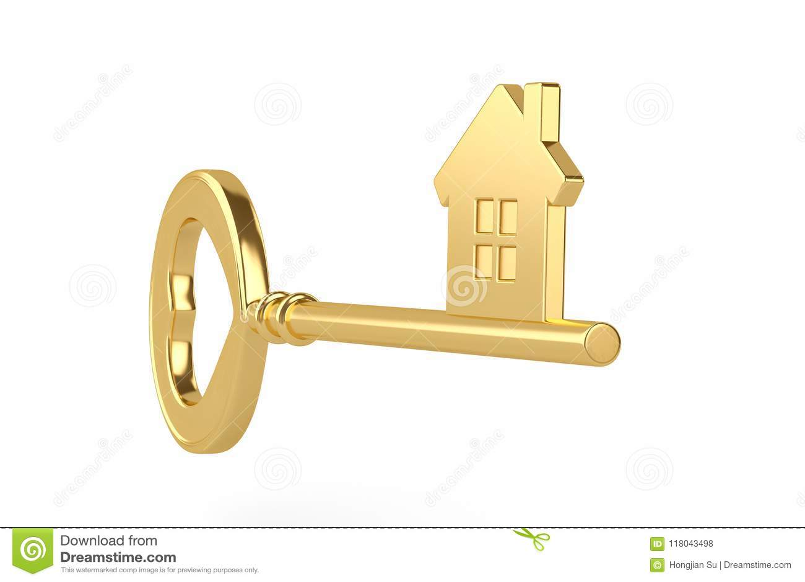 gold house key. Gold House Key On White Background.3D Illustration. Silhouette, Open.