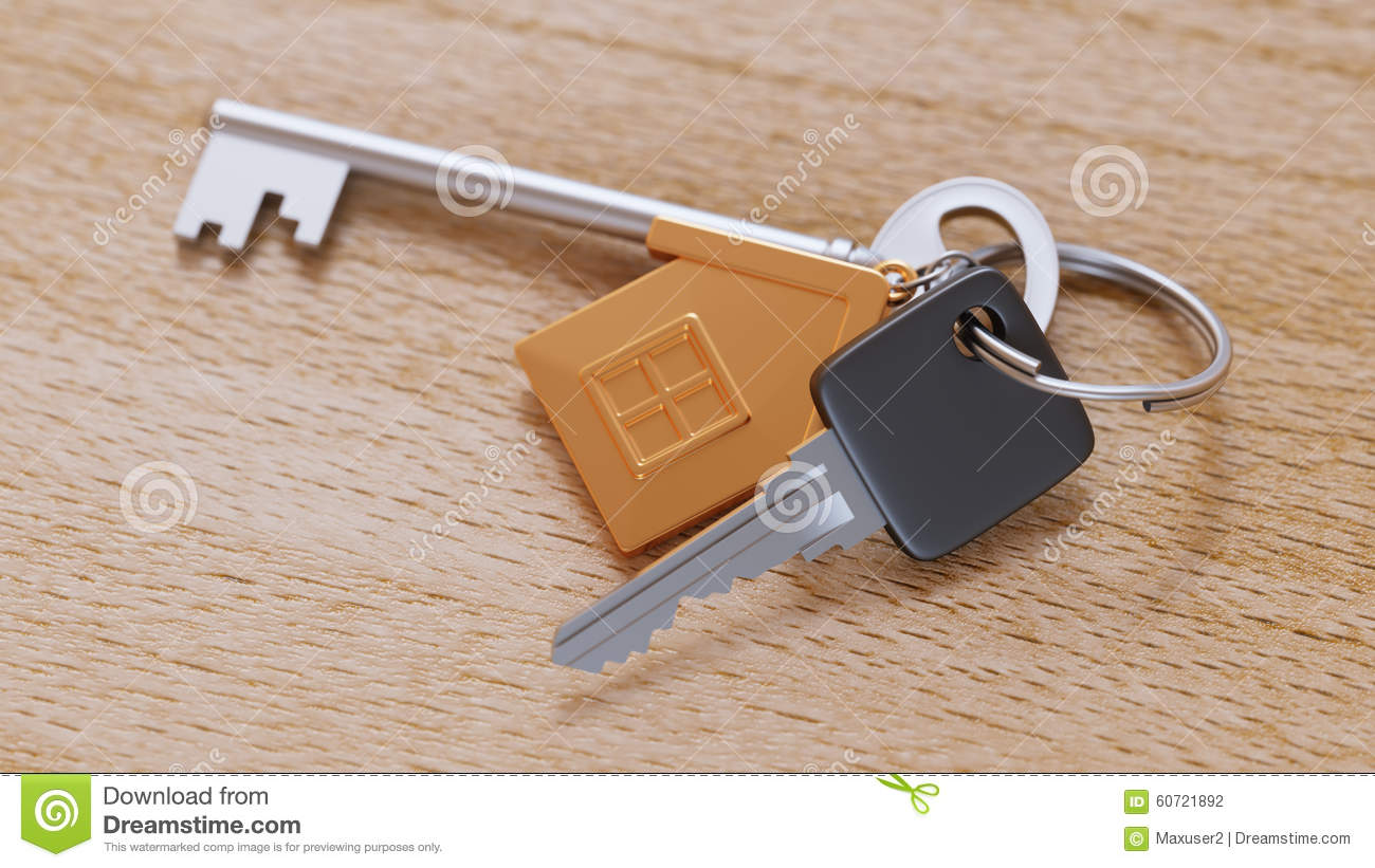 Gold House Keychain And Keys On Table Close-up Stock Photo ...