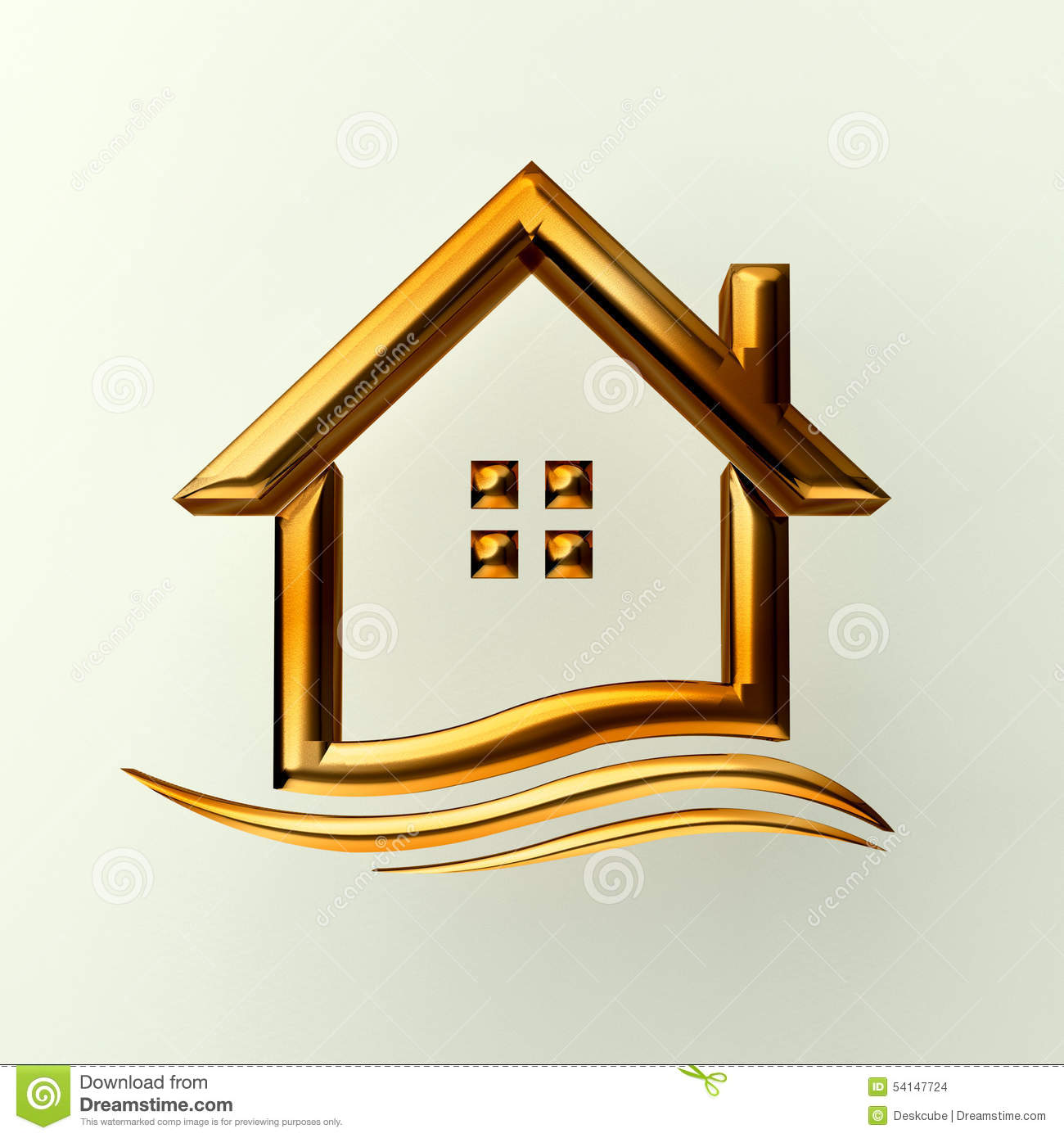 Gold House   Gold House Logo With Wave Stock Illustration Image Of Home  54147724