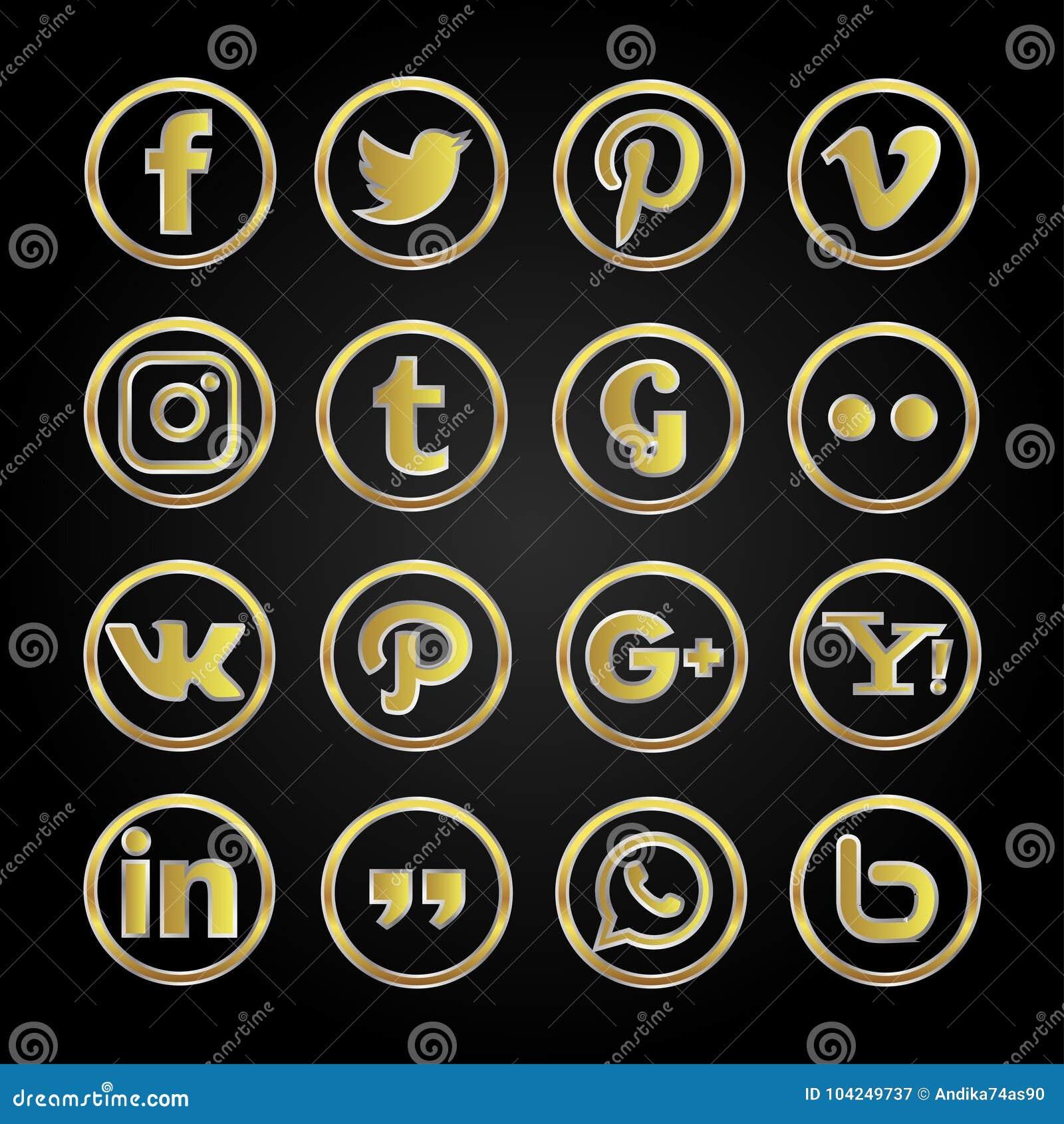 Gold icon social media set