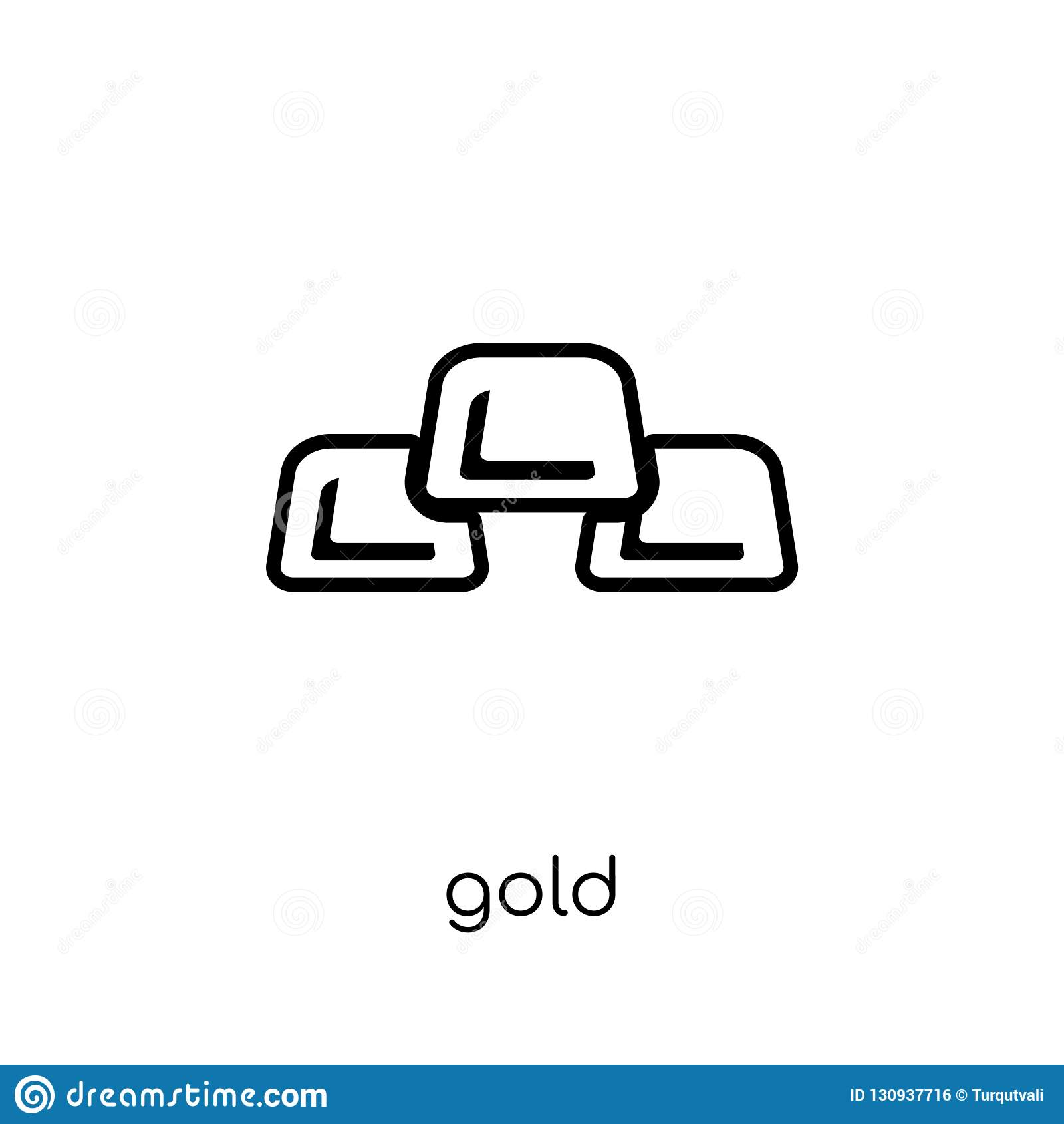 Gold icon. Trendy modern flat linear vector Gold icon on white b