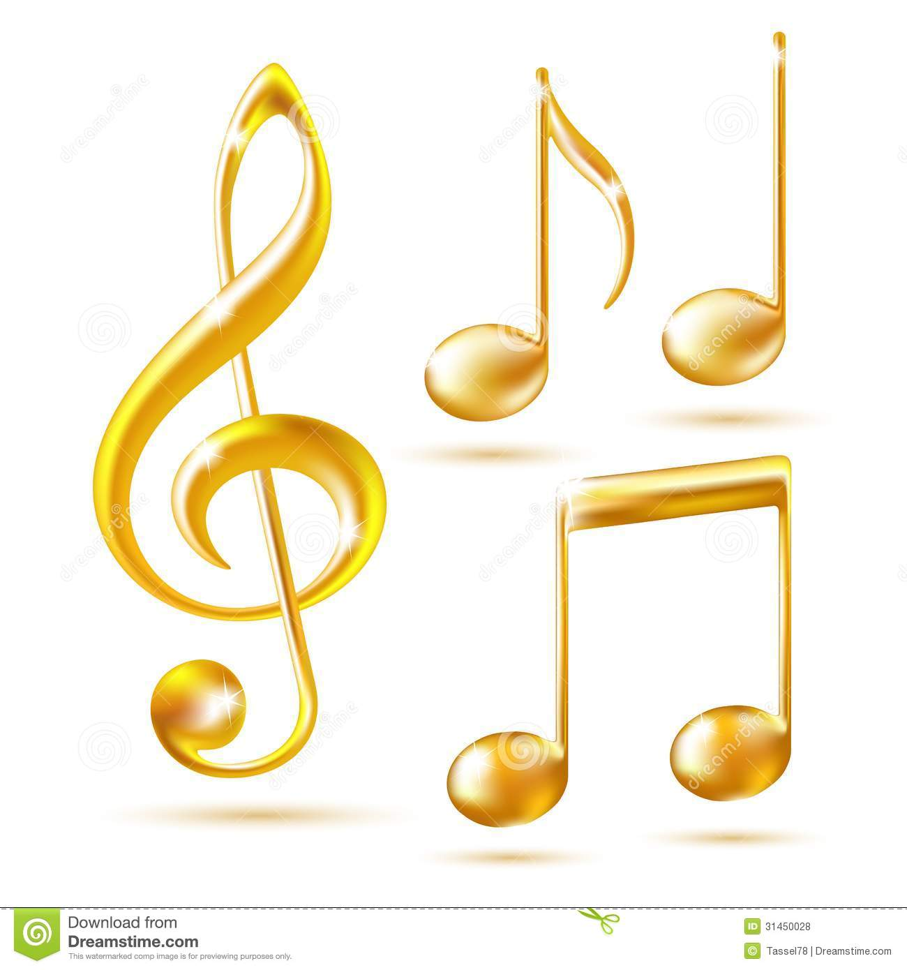 Musical notes staff background on white vector by tassel78 image - Gold Icons Of A Treble Clef And Music Notes Royalty Free Stock Photos