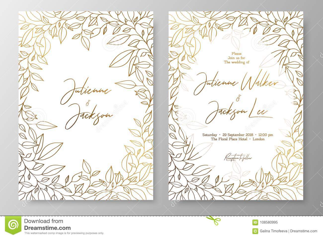 Gold Invitation With Frame Of Leaves Gold Cards Templates For Save