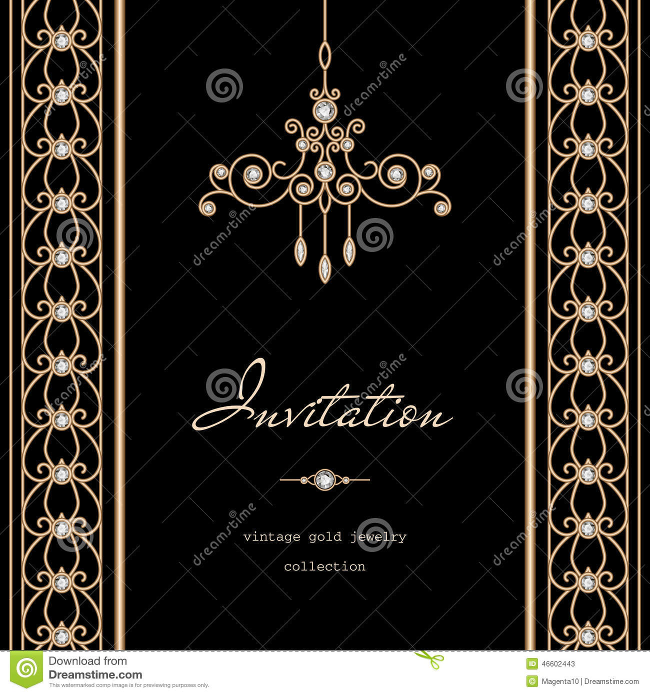 gold invitation template stock vector illustration of decor 46602443