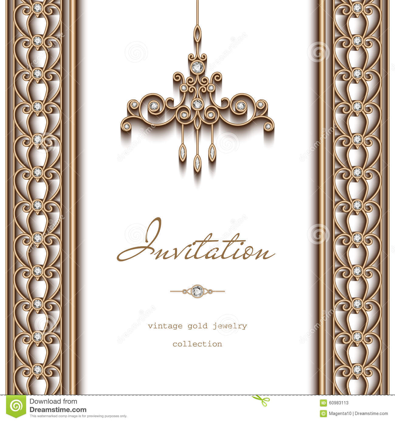 Gold Jewelry Background Invitation Template Stock Vector