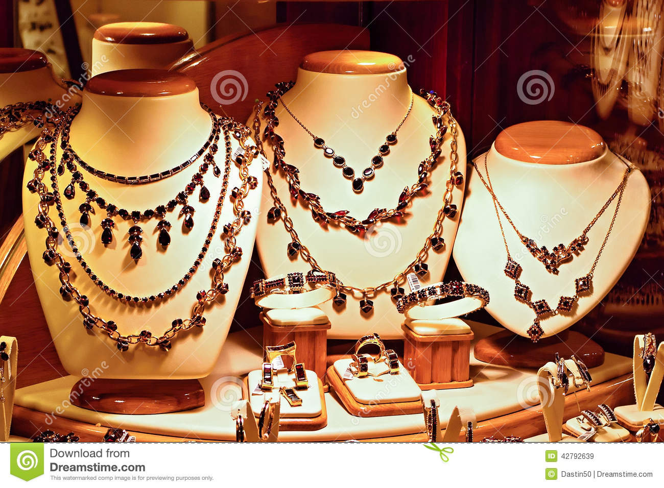 Gold Jewelry With Bohemian Garnets Stock Image Image of retail