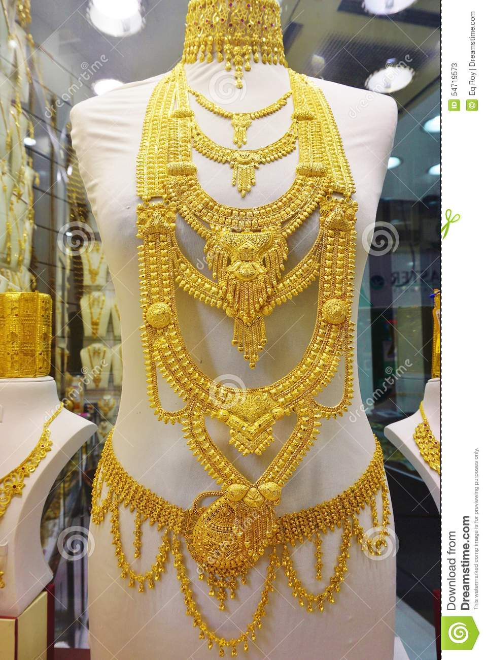 Gold Jewelry At The Dubai Gold Souk Editorial Stock Photo