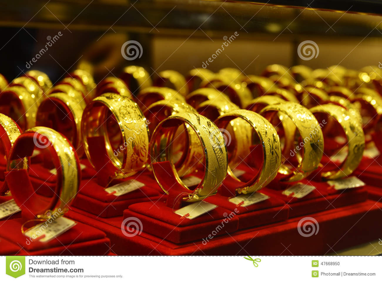 Gold Jewellery In A Shop Window Stock Image Image of shopping