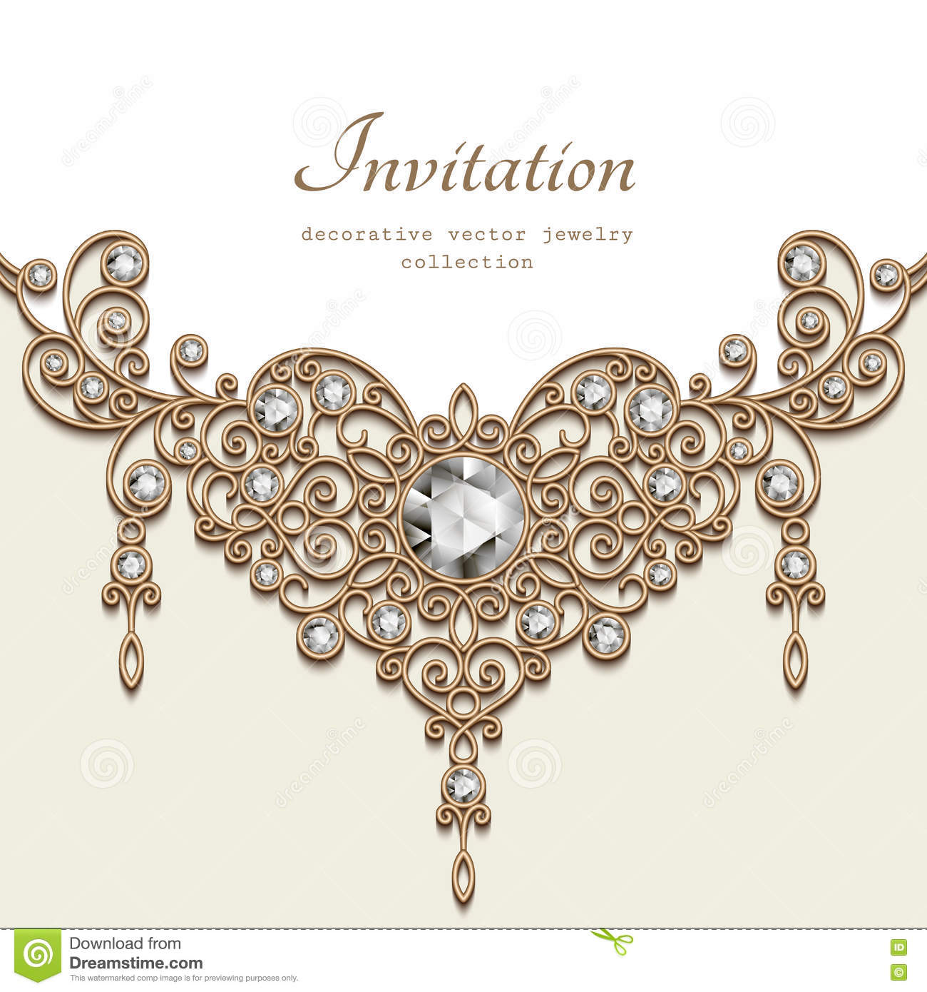 Gold Jewelry Necklace Greeting Card Template Stock Vector