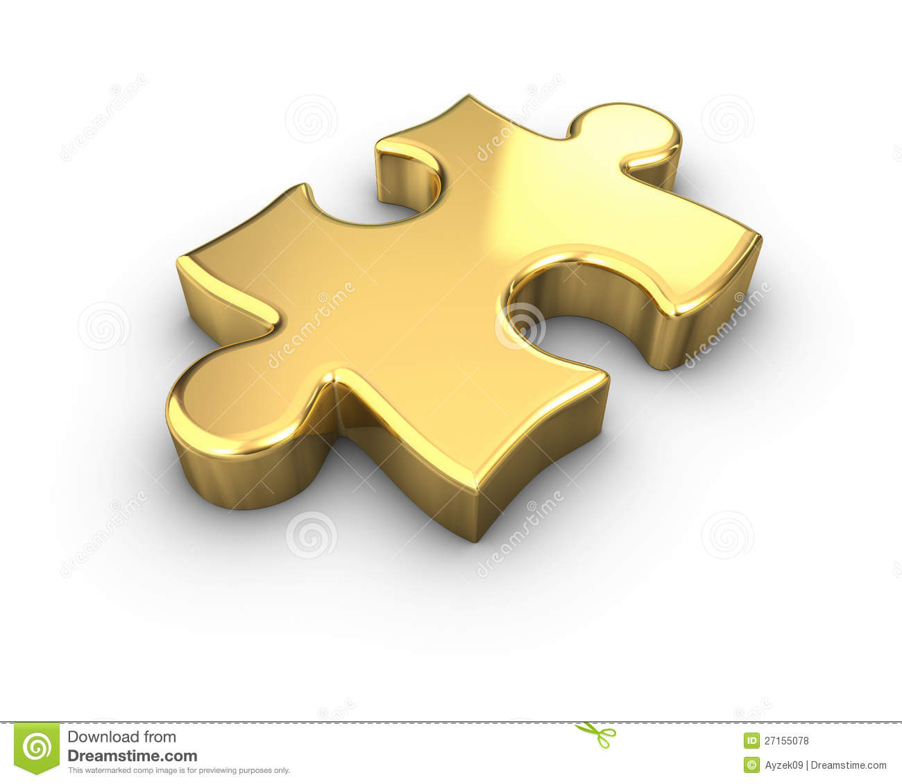 Gold Jigsaw Piece Stock Illustration Of Metal